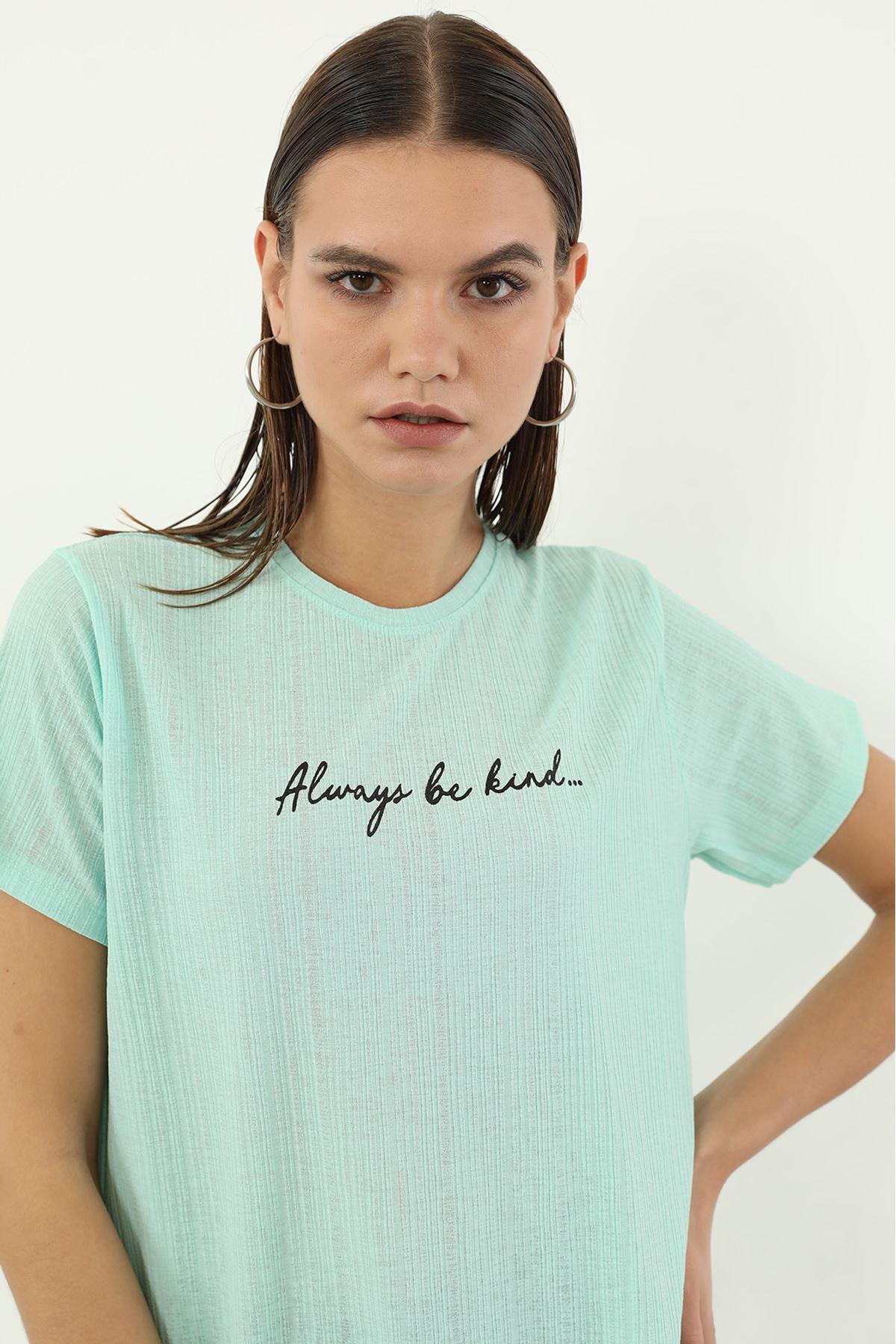 Alwarys Be Kind Baskılı T-shirt-Mint