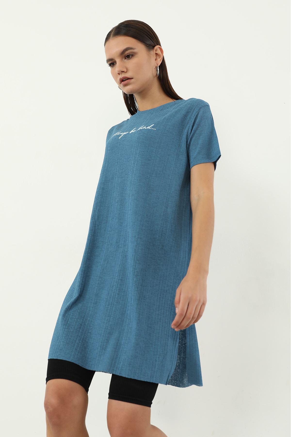 Alwarys Be Kind Baskılı T-shirt-İndigo