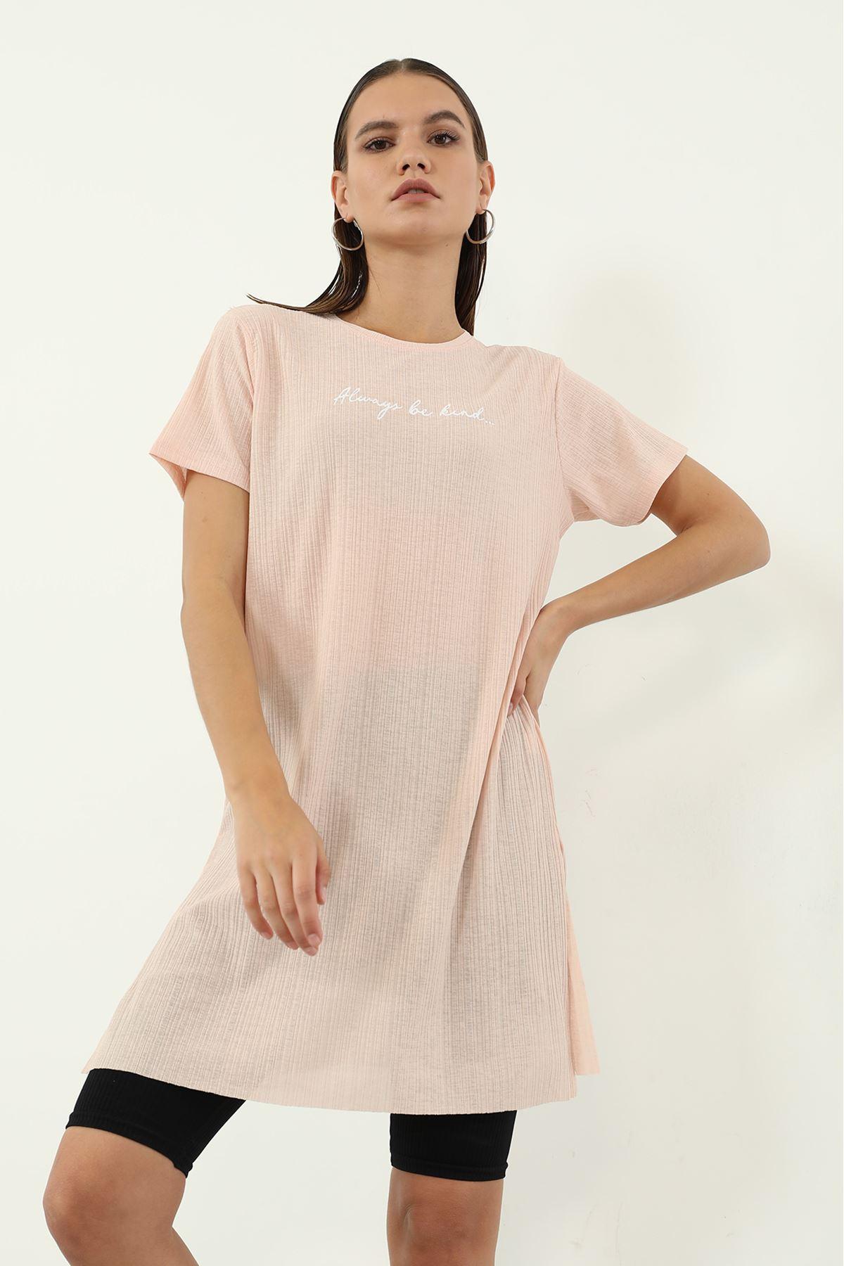 Alwarys Be Kind Baskılı T-shirt-Somon