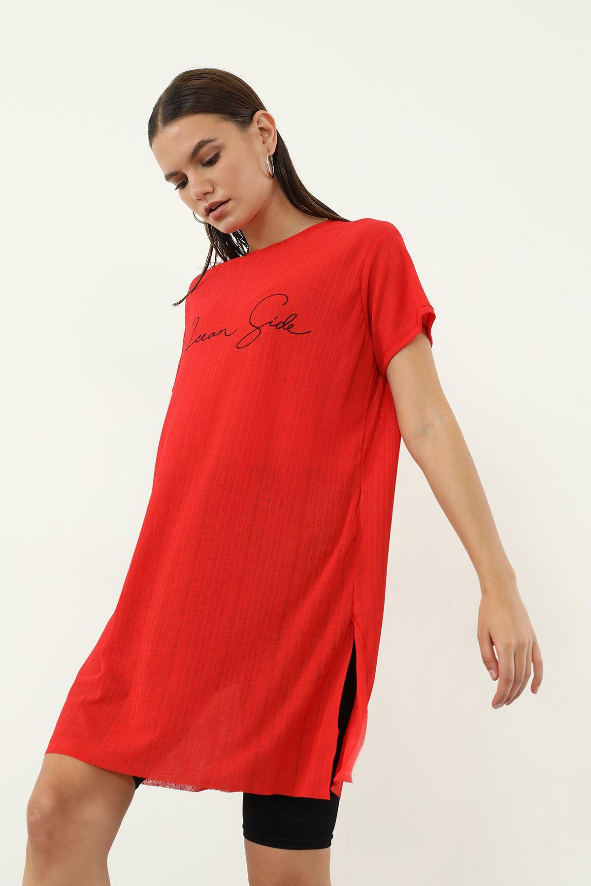Dream Side Baskılı T-shirt-Kırmızı