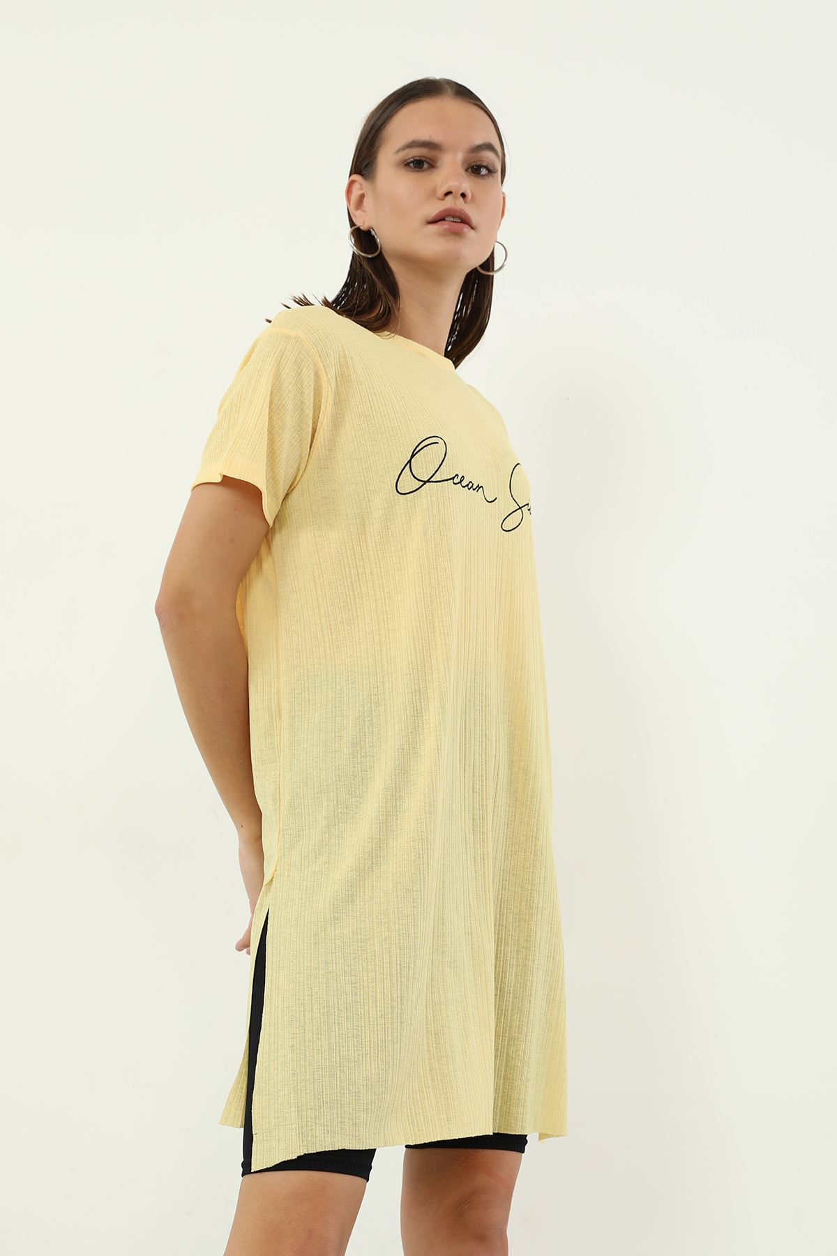 Dream Side Baskılı T-shirt-Sarı