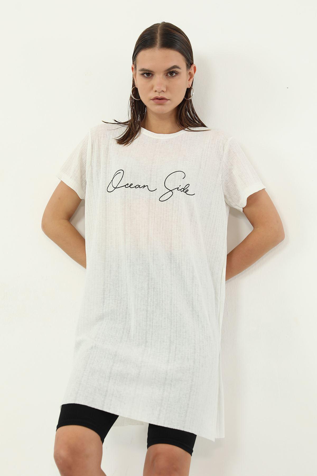 Dream Side Baskılı T-shirt-Ekru