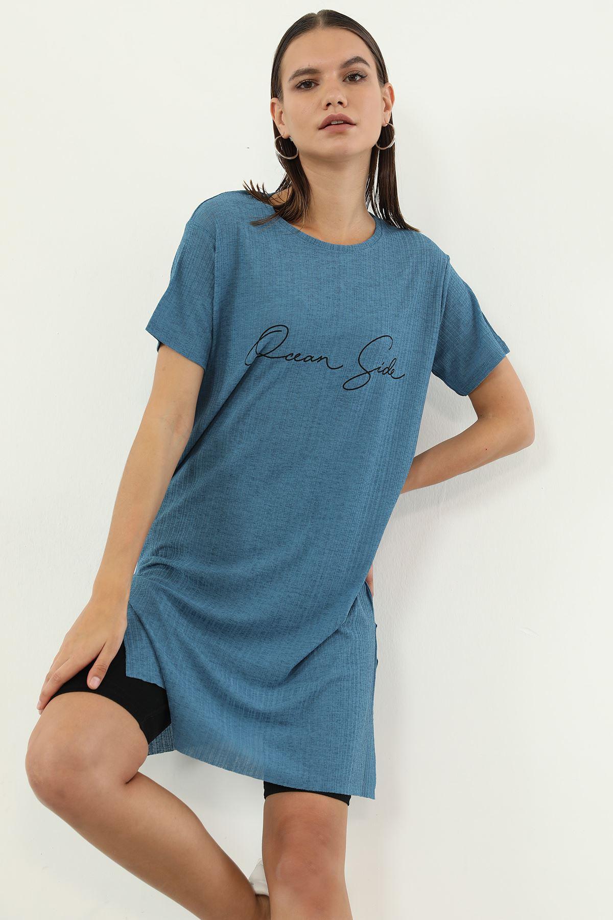 Dream Side Baskılı T-shirt-İndigo