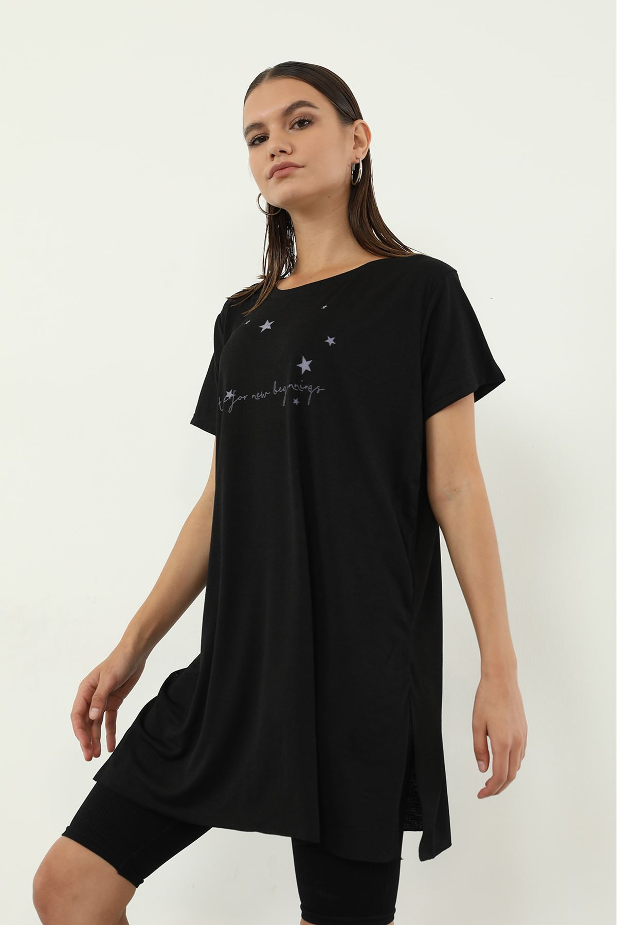 Time For New Baskılı T-shirt-Siyah