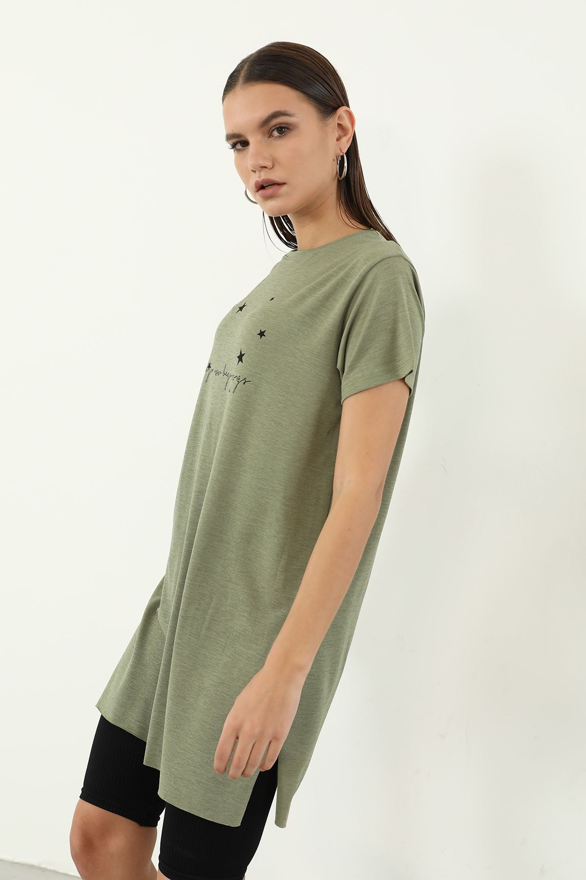 Time For New Baskılı T-shirt-Haki