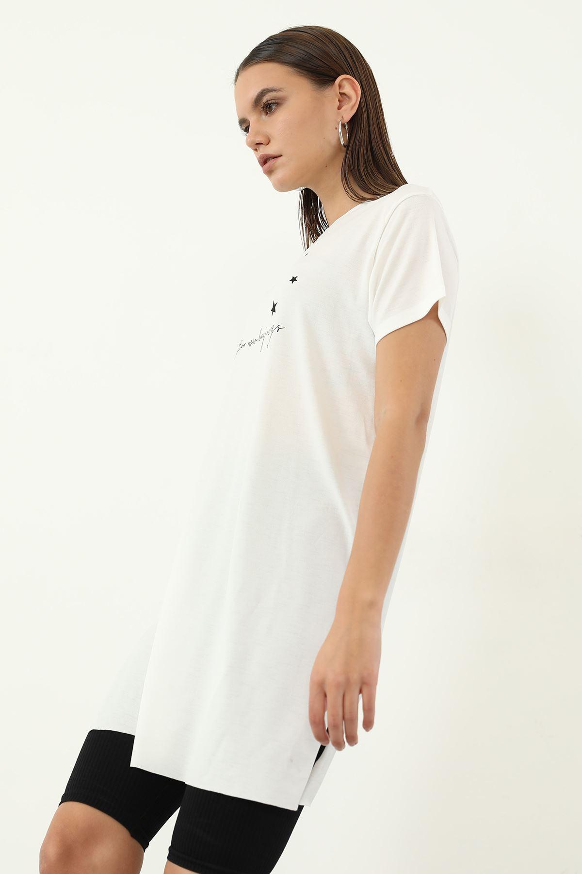 Time For New Baskılı T-shirt-Ekru
