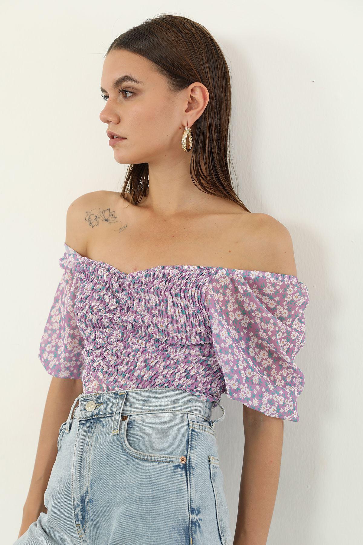Çiçekli Şifon Bluz-Lila