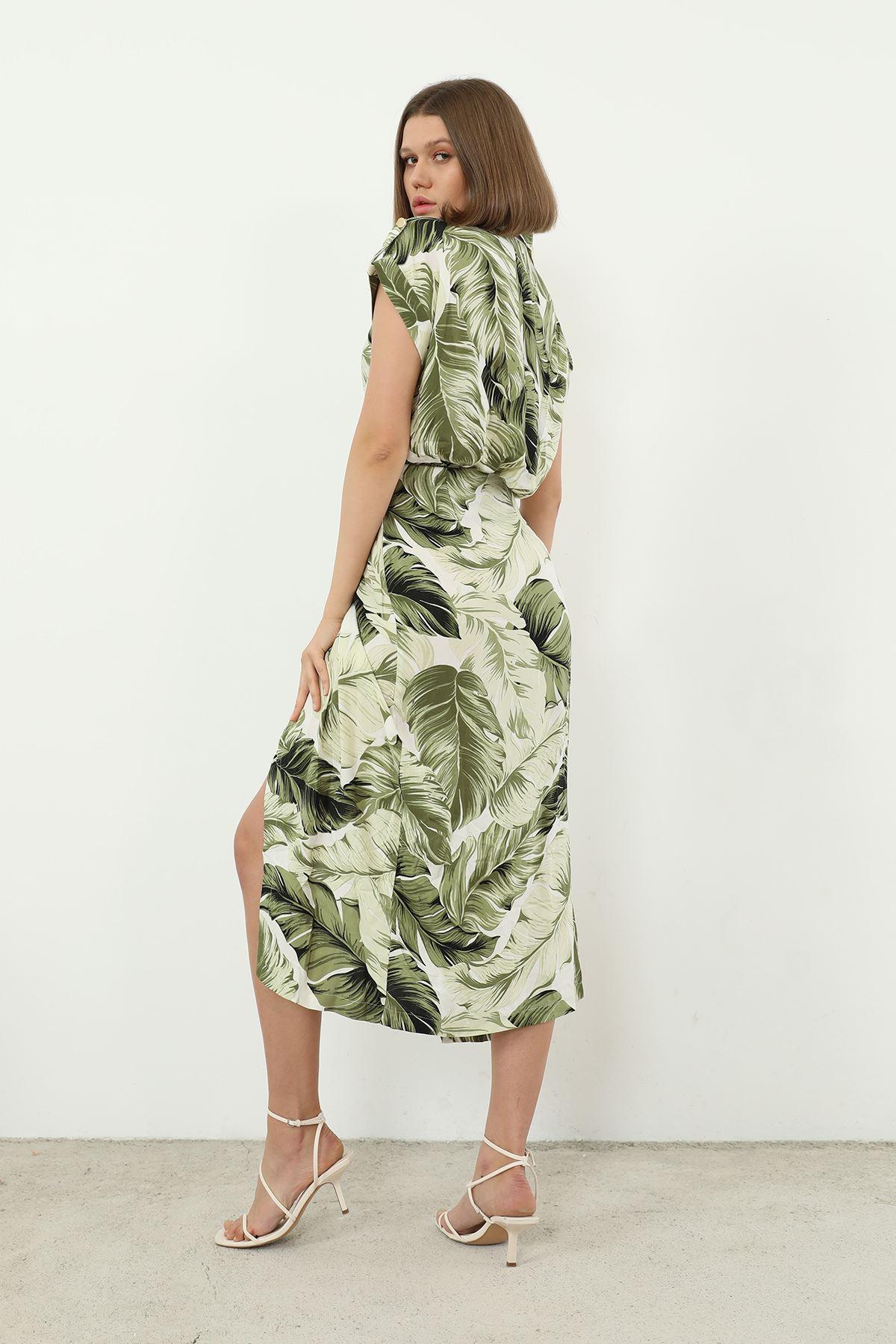 Palmiye Desen Elbise-Yeşil