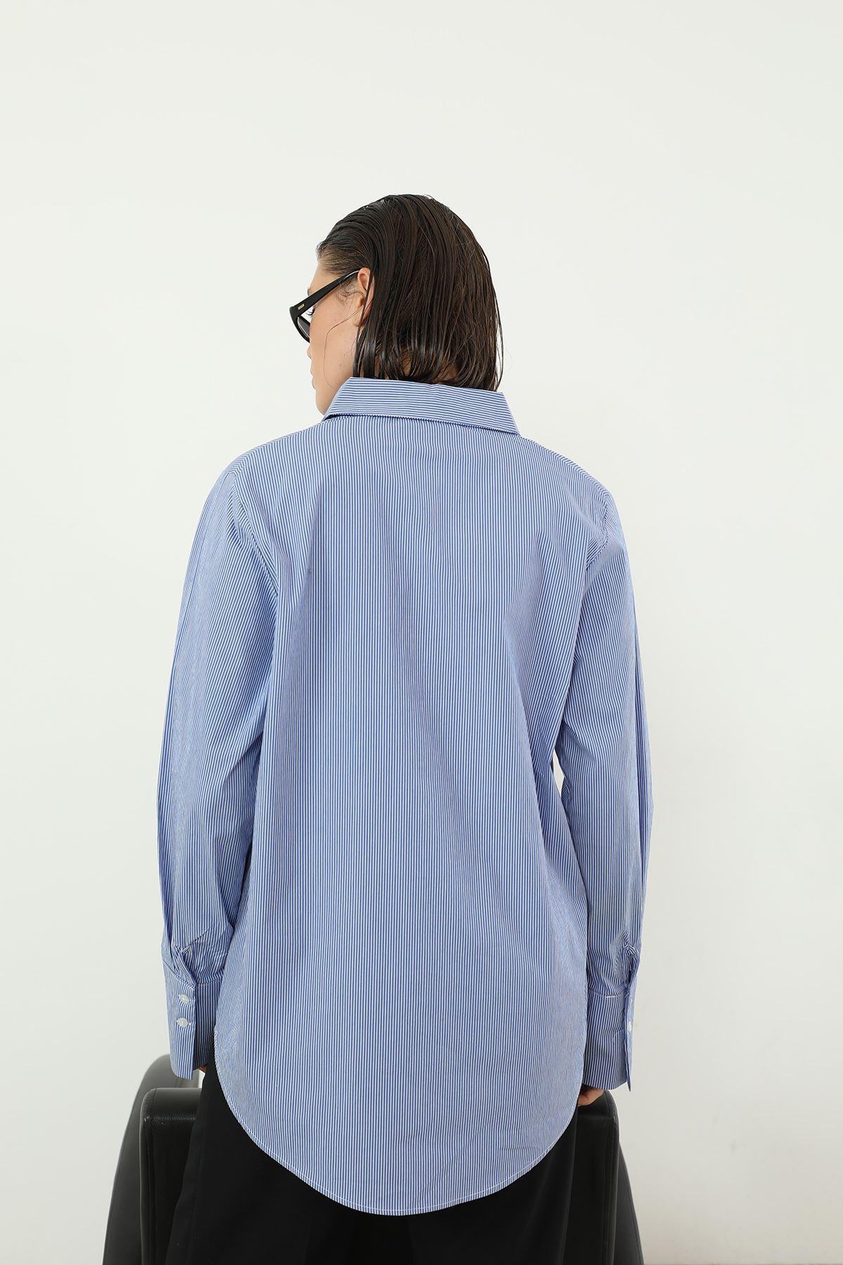 Çizgili Gömlek-Mavi