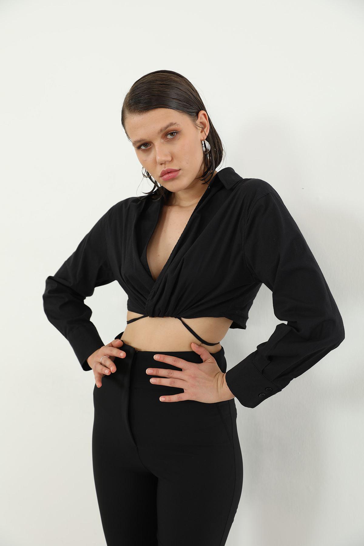 Bel Bağlamalı Poplin Gömlek-Siyah
