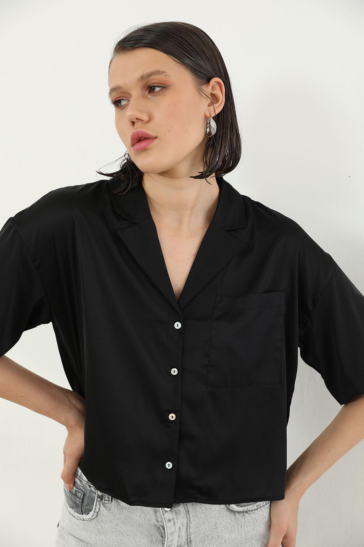 Saten Gömlek-Siyah