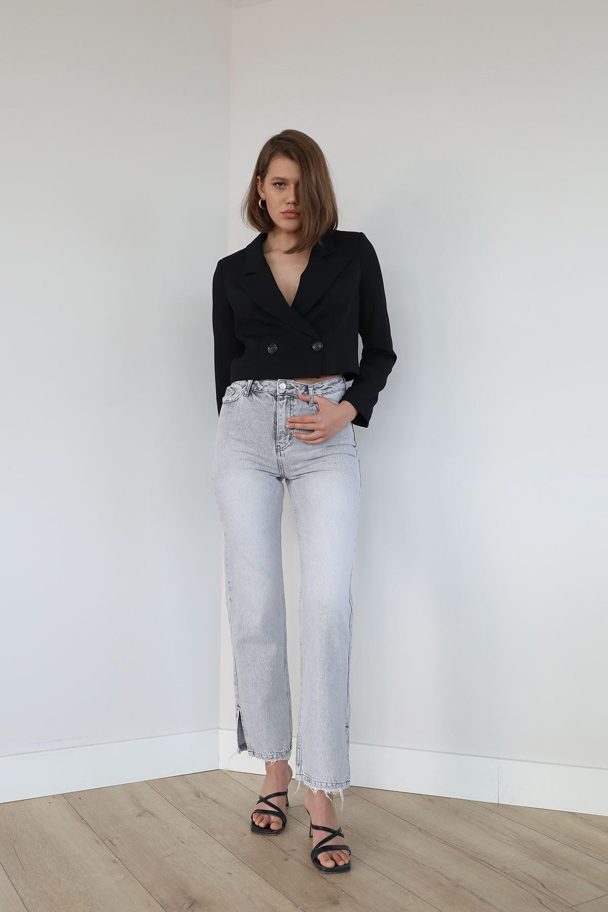Yırtmaç Detay Jean Pantolon-Açık Gri