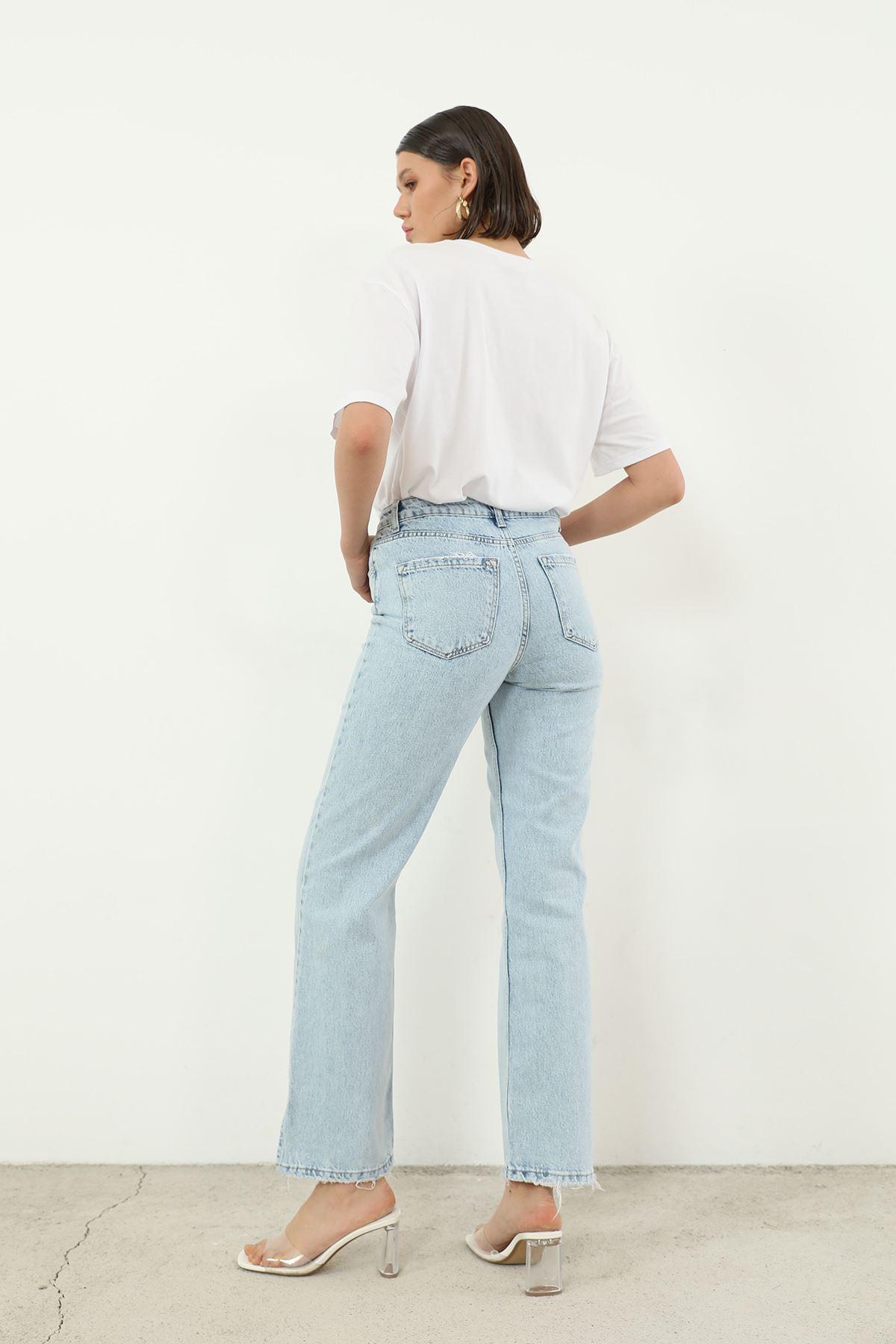 Yırtmaç Detay Jean Pantolon-Mavi