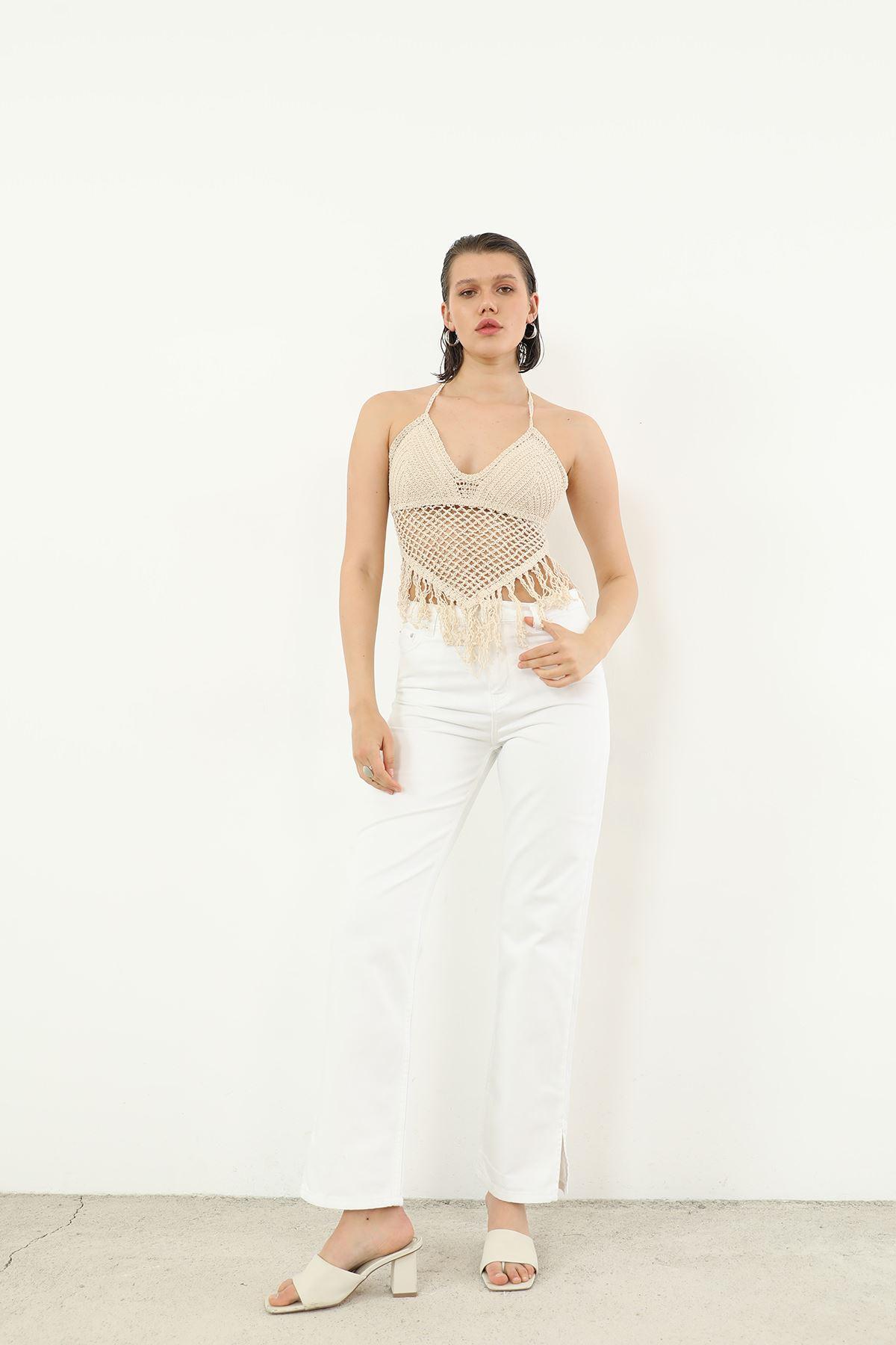 Yırtmaç Detay Jean Pantolon-Beyaz