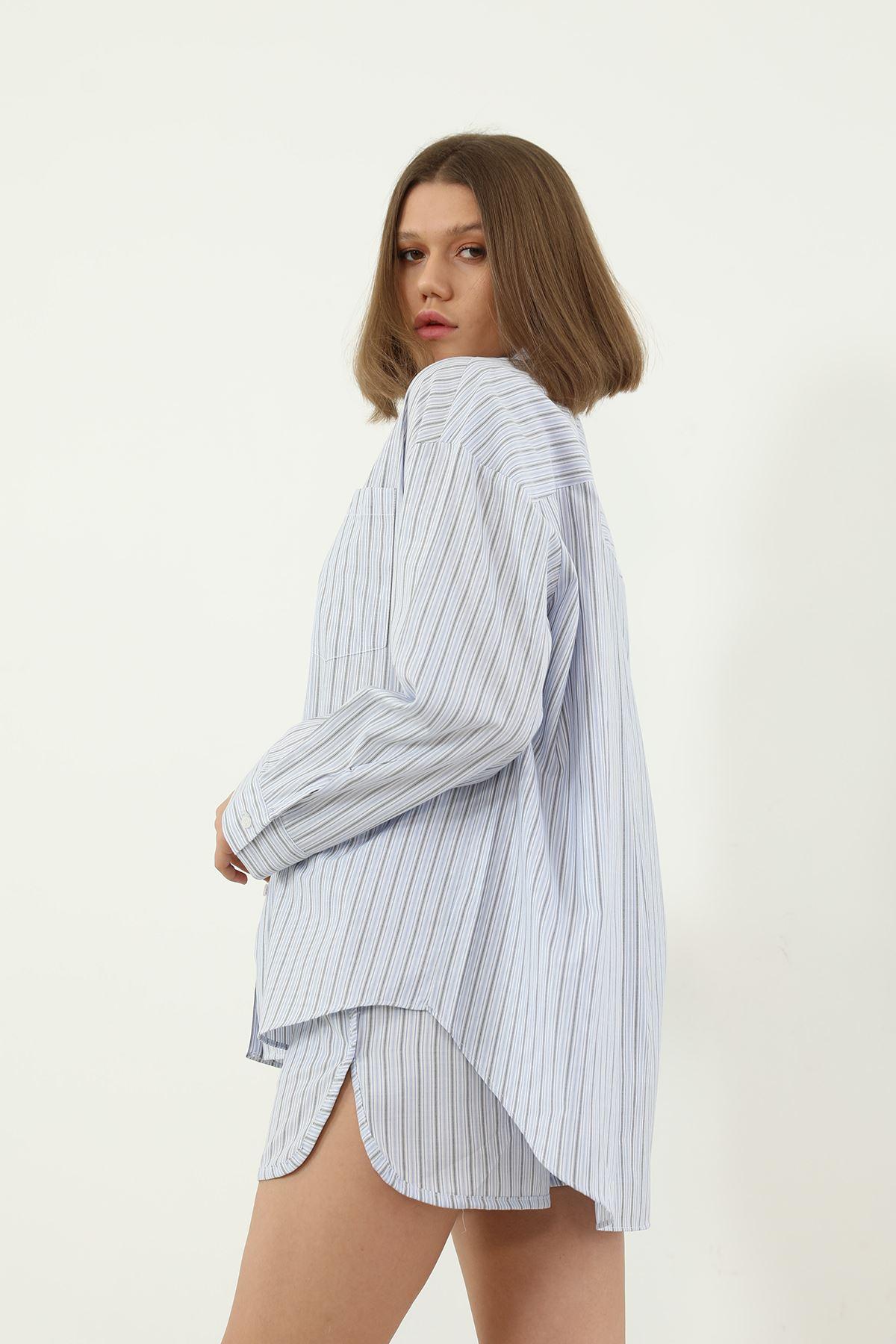 Şortlu Pijama Takım-Mavi