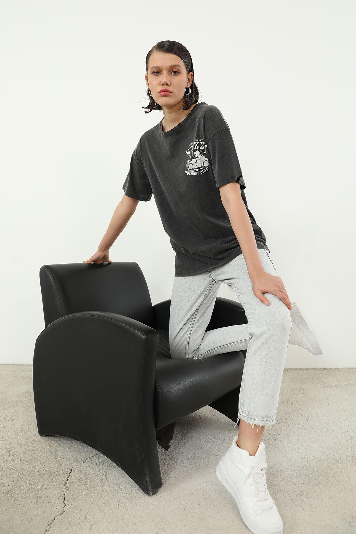 Mickey Baskılı T-shirt-Antrasit