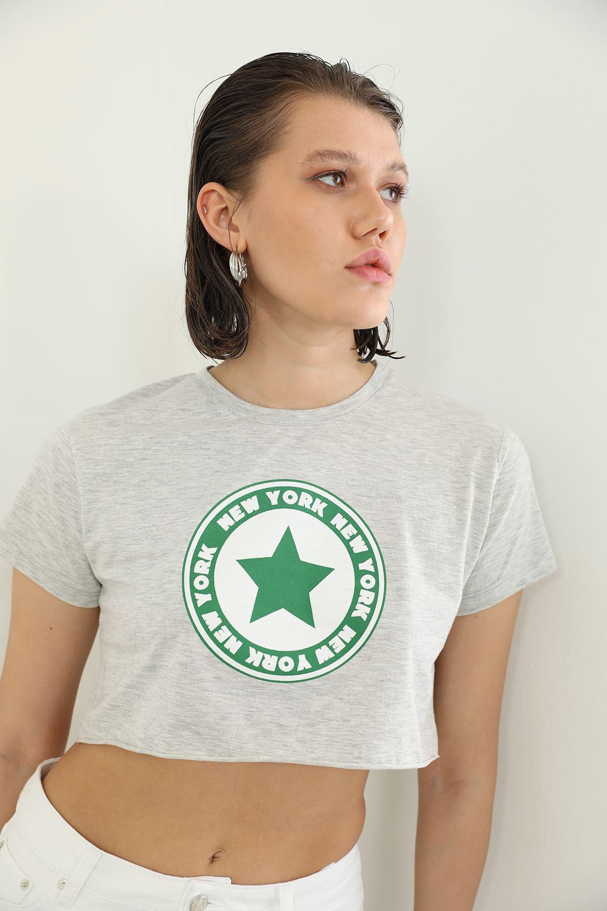 Newyork Baskılı T-shirt-Gri