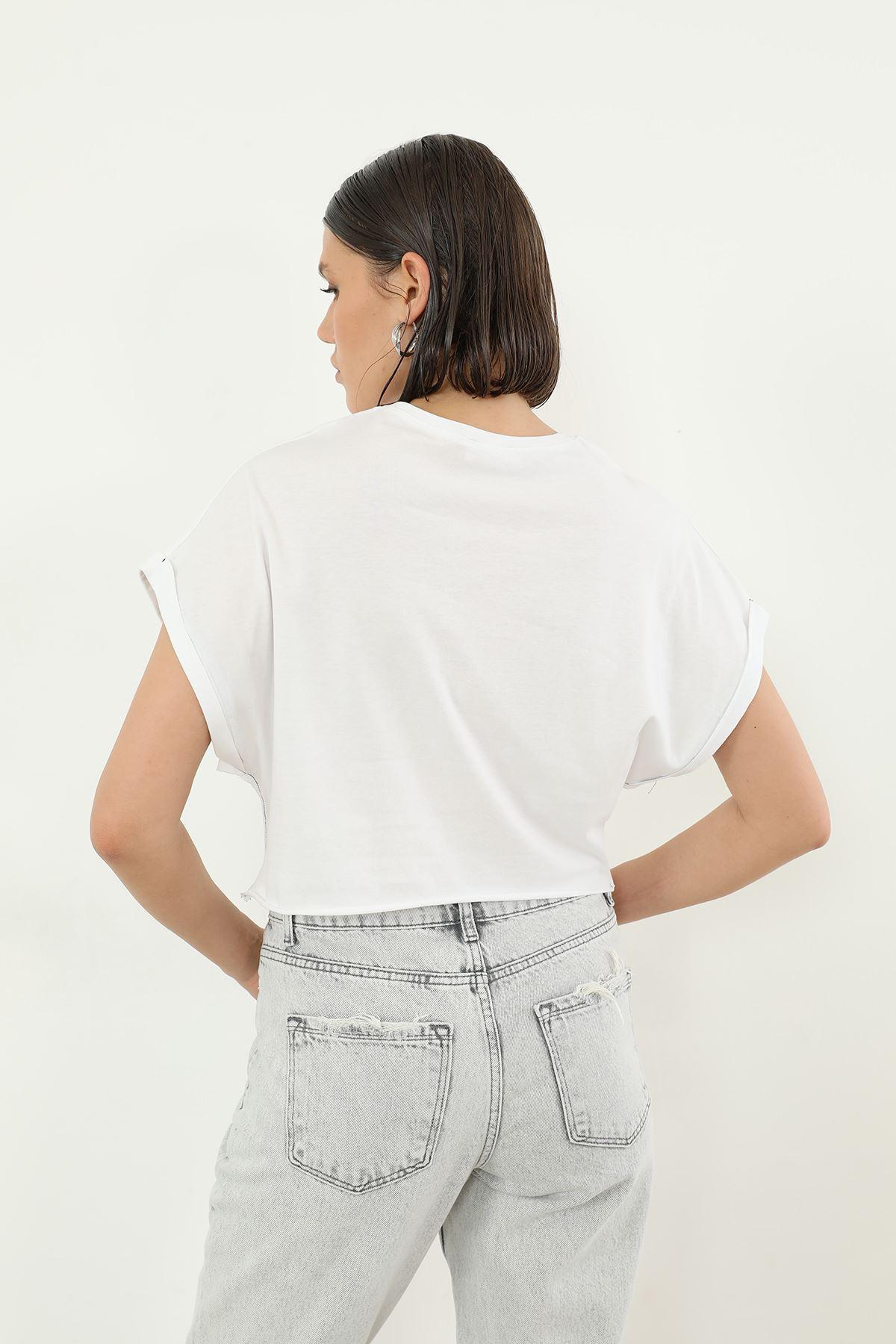 Loud Baskılı T-shirt-Beyaz