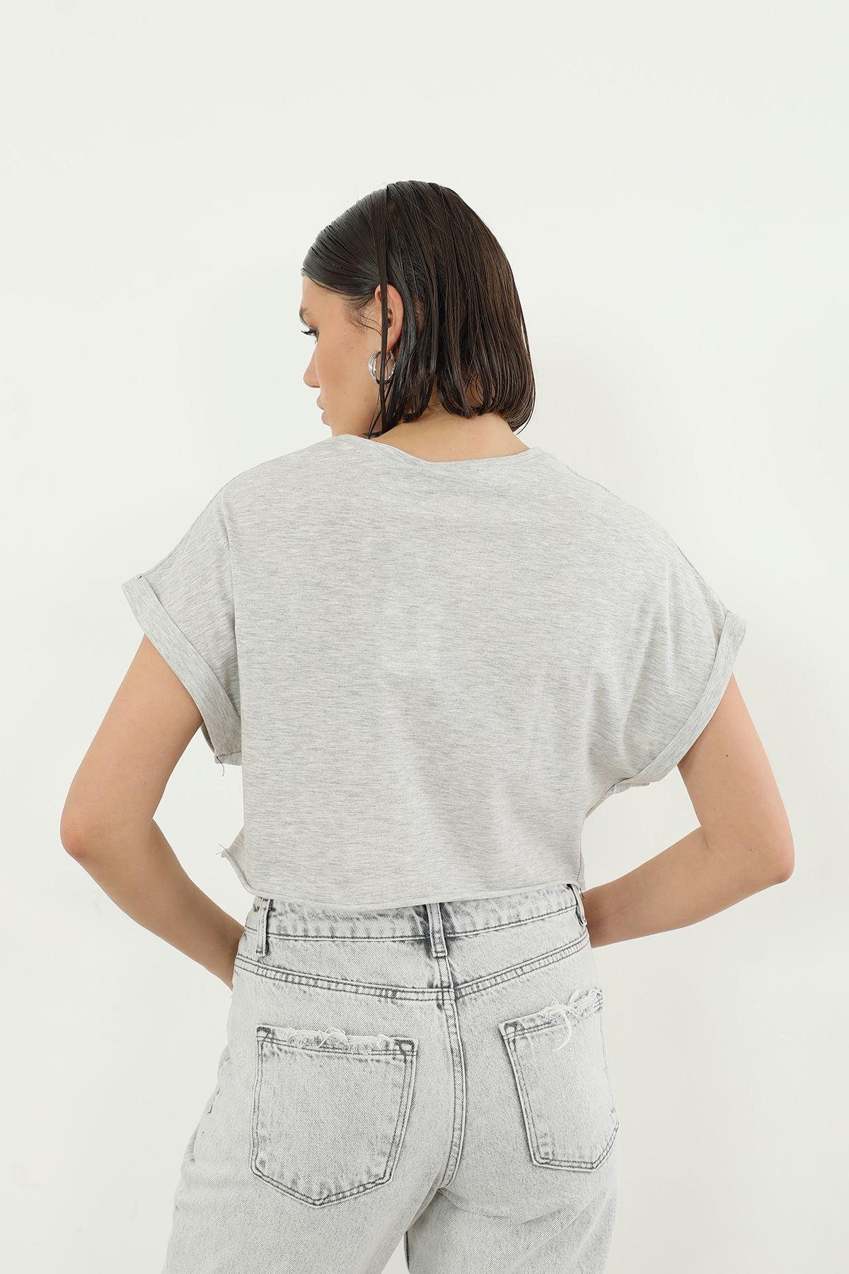 Loud Baskılı T-shirt-Gri
