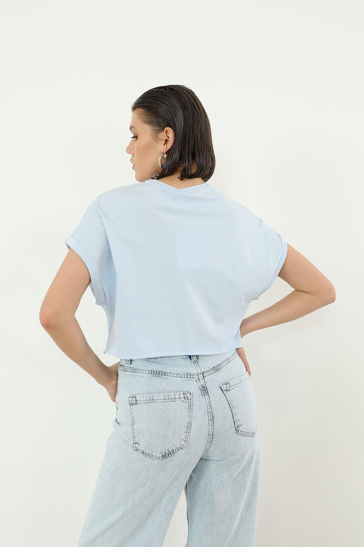 Loud Baskılı T-shirt-Mavi
