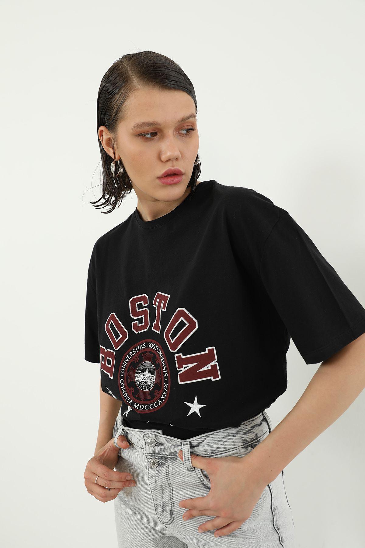 Boston Baskılı T-shirt-Siyah