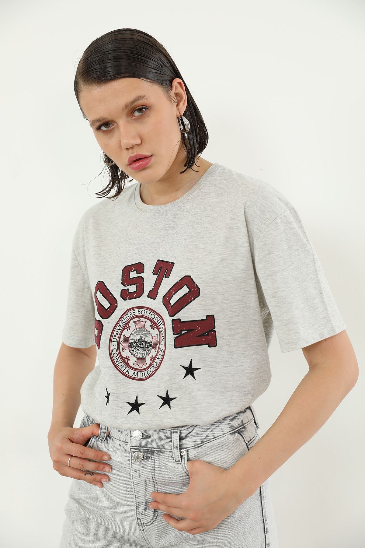 Boston Baskılı T-shirt-Gri
