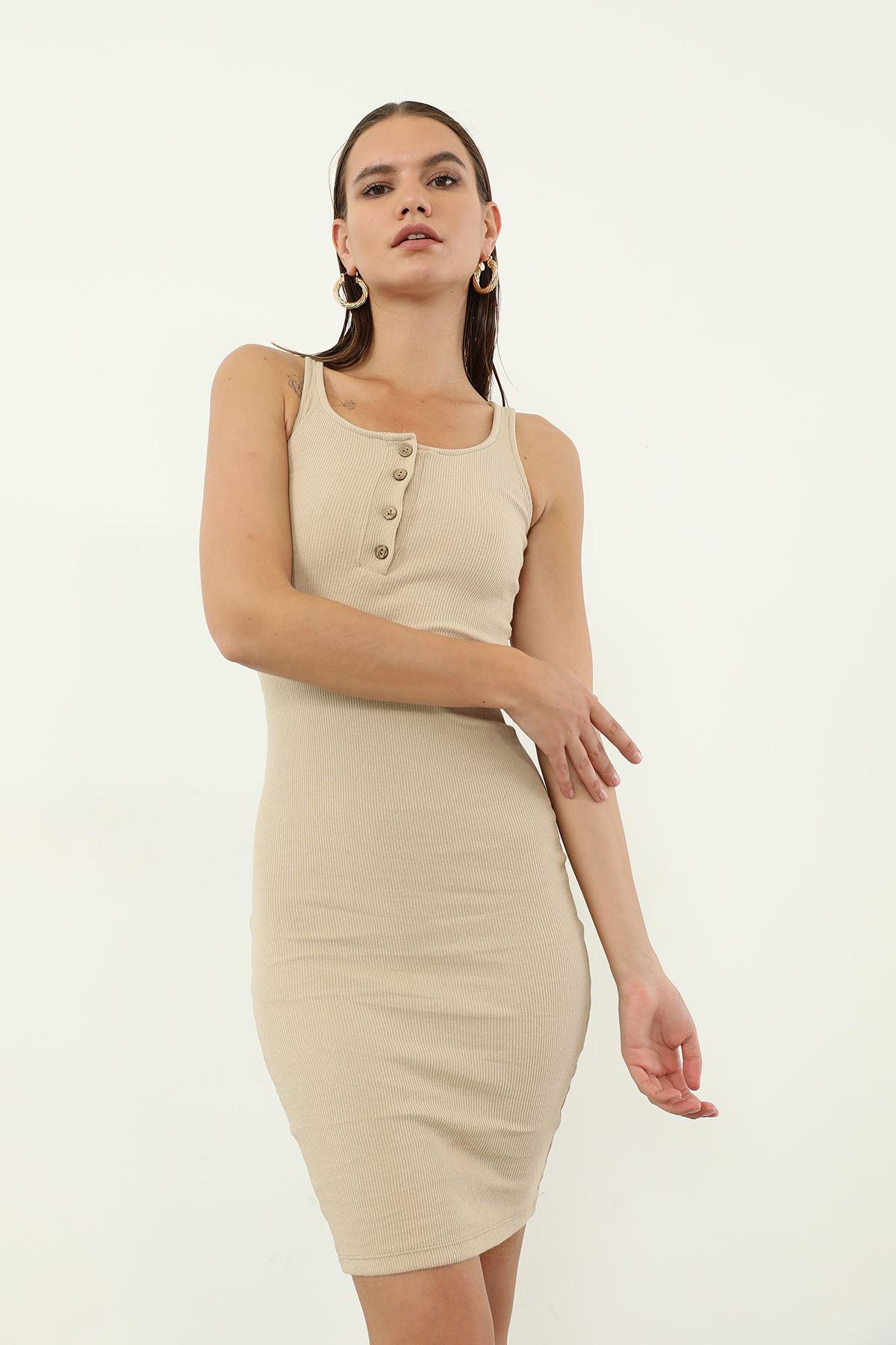 Düğmeli Kaşkorse Elbise-Bej