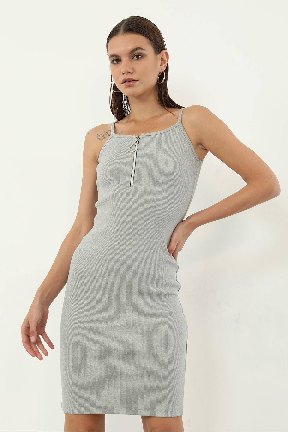 Fermuarlı Kaşkorse Elbise-Gri
