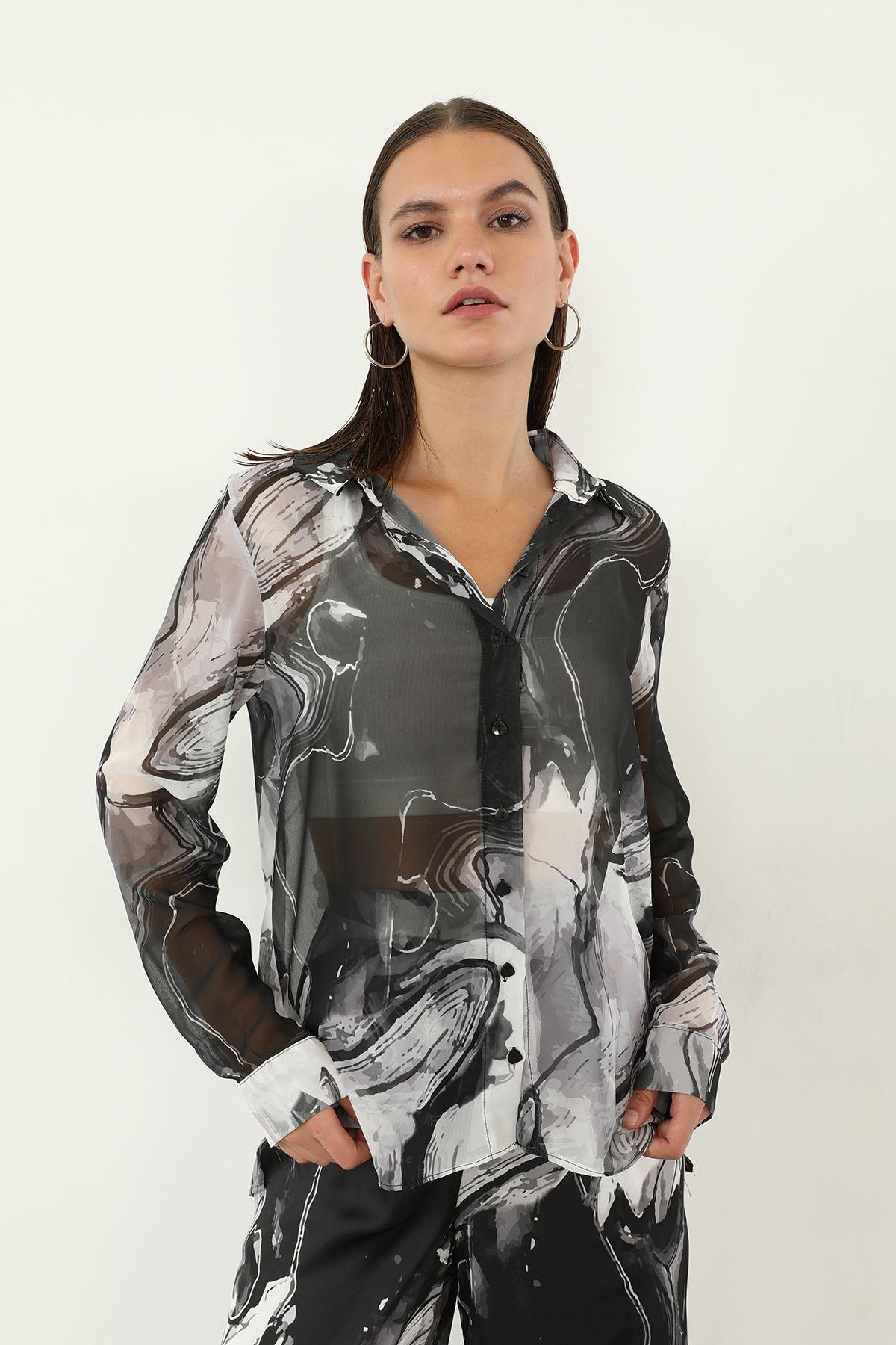 Batik Desen Şifon Gömlek-Siyah