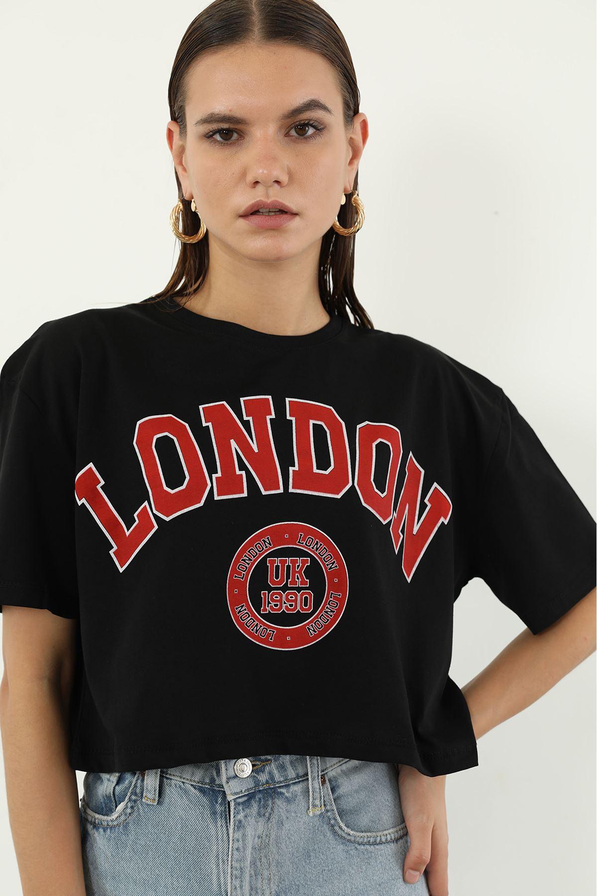 London Baskılı T-shirt-Siyah