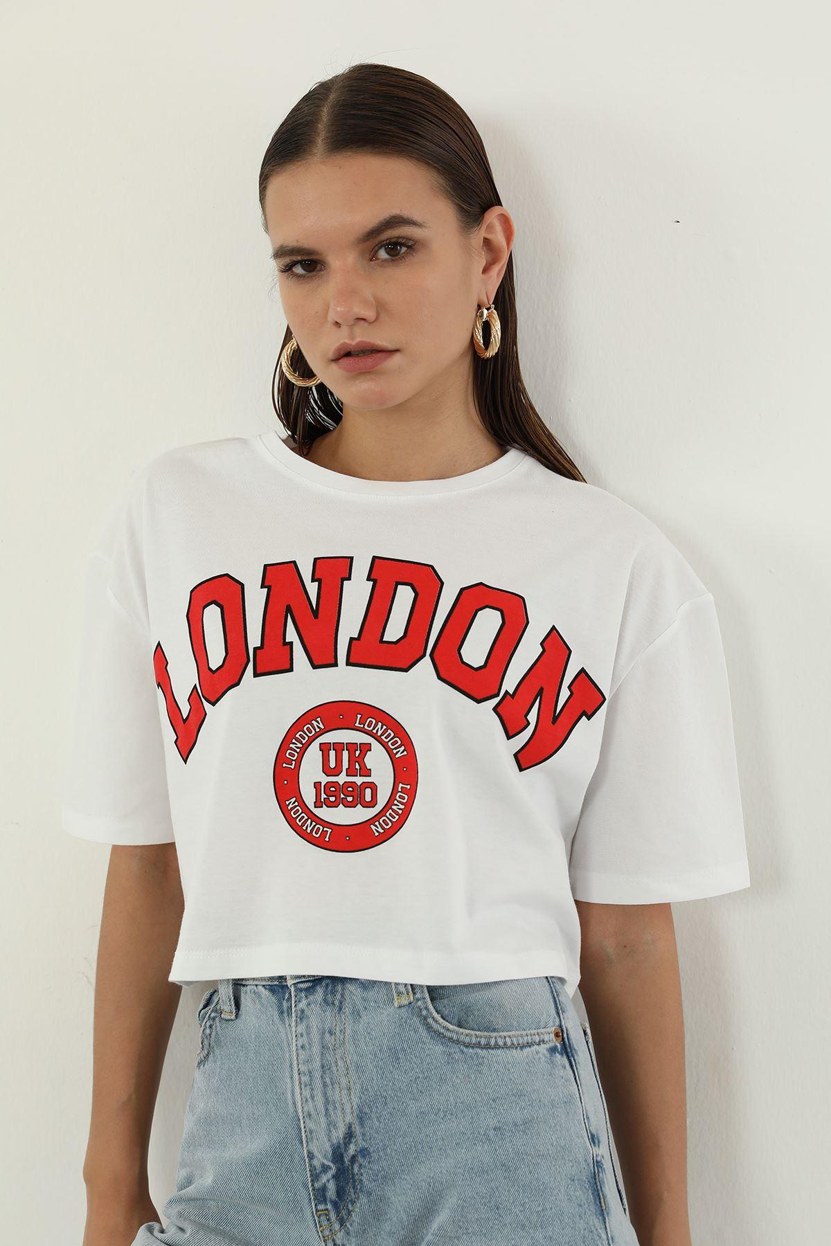 London Baskılı T-shirt-Beyaz