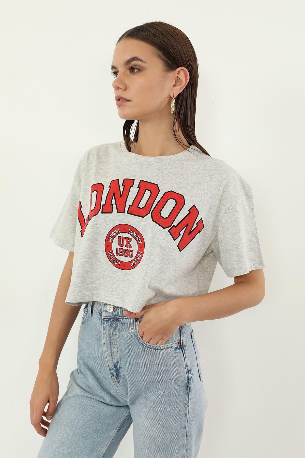 London Baskılı T-shirt-Gri
