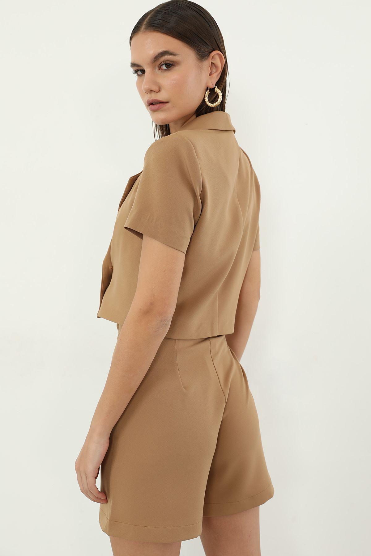 Düğmeli Ceket-Camel