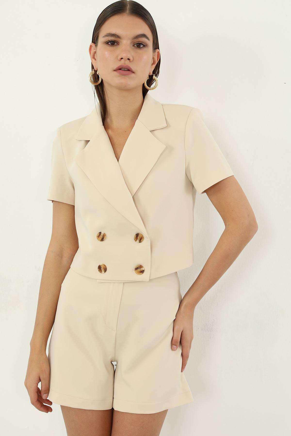 Düğmeli Ceket-Bej