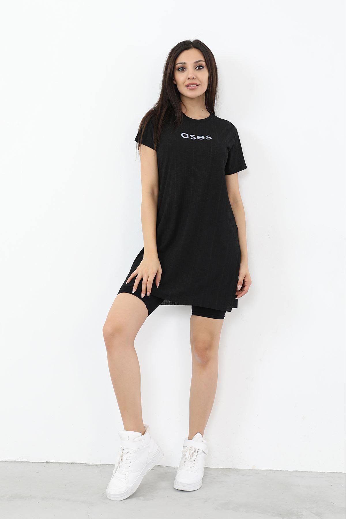 Ases Baskılı T-shirt-Siyah