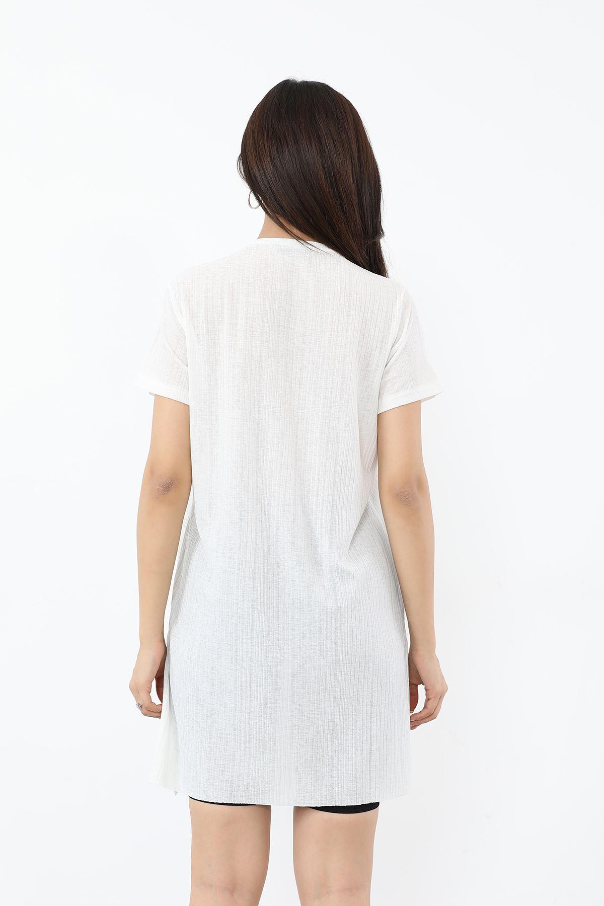 Ases Baskılı T-shirt-Ekru