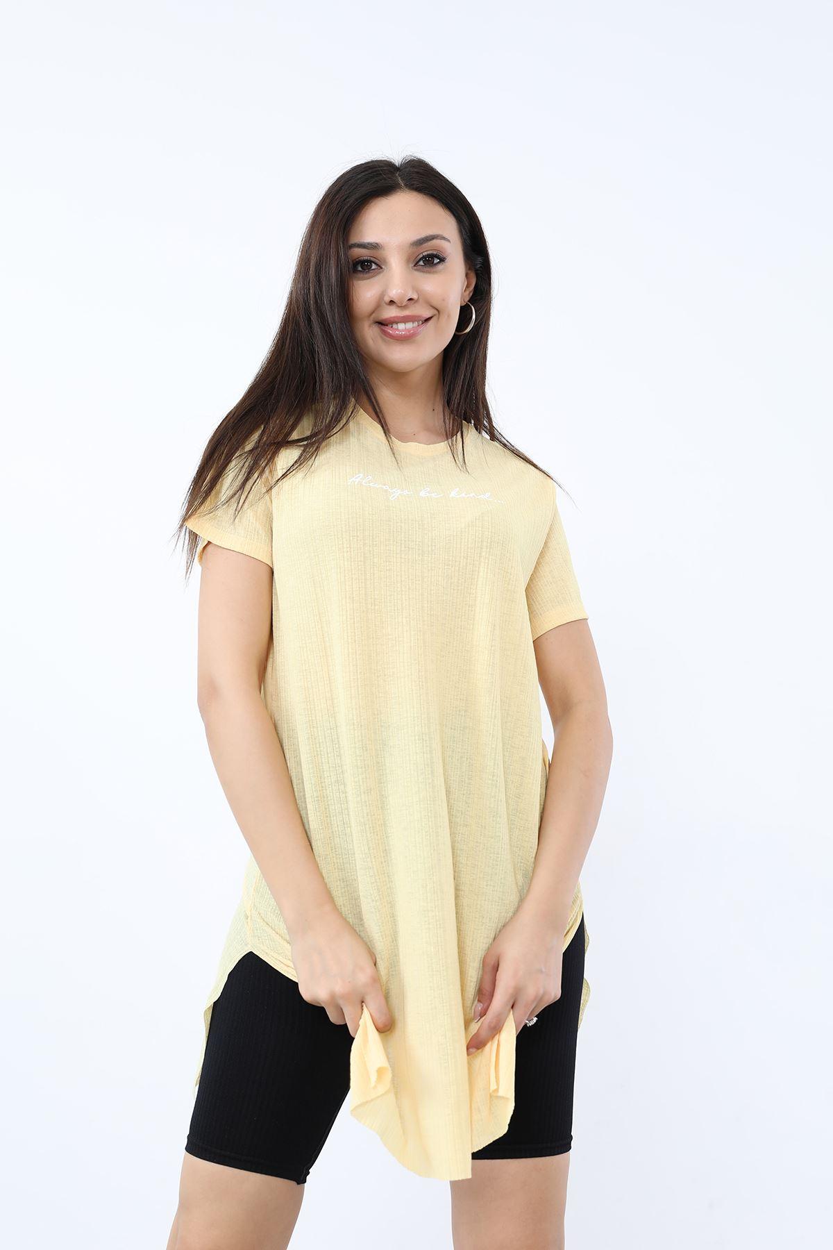 Alwarys Be Kind Baskılı T-shirt-Sarı