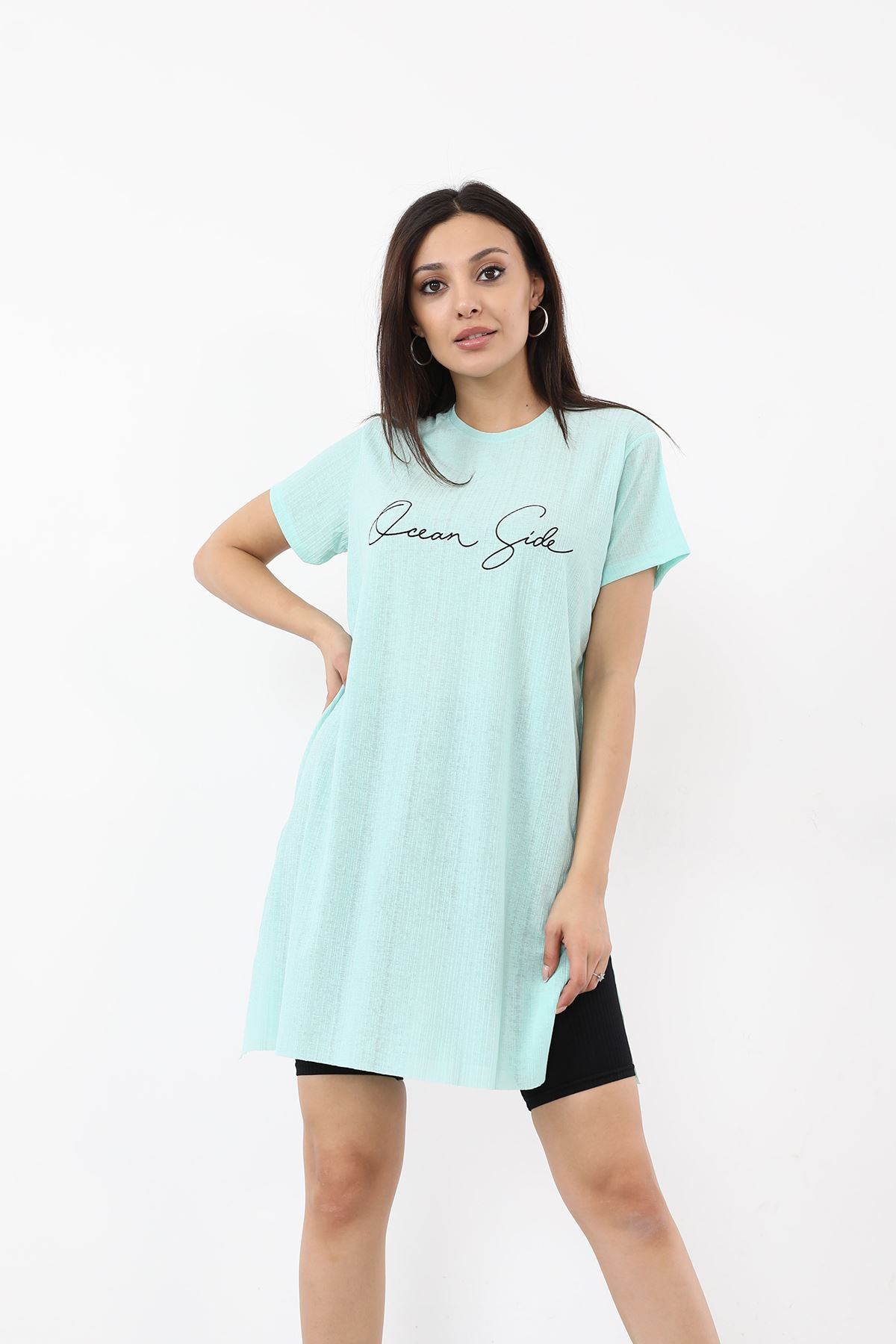 Dream Side Baskılı T-shirt-Mint