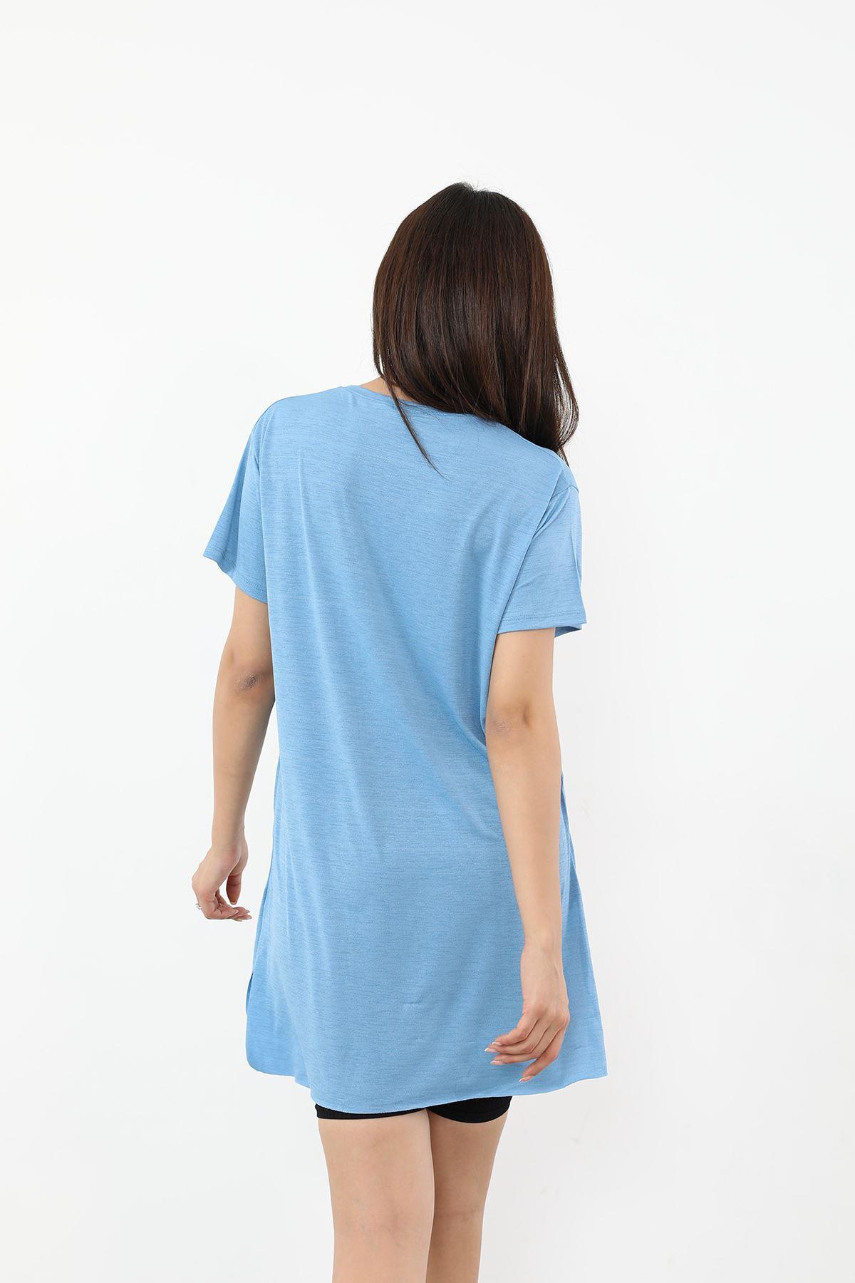 Time For New Baskılı T-shirt-İndigo