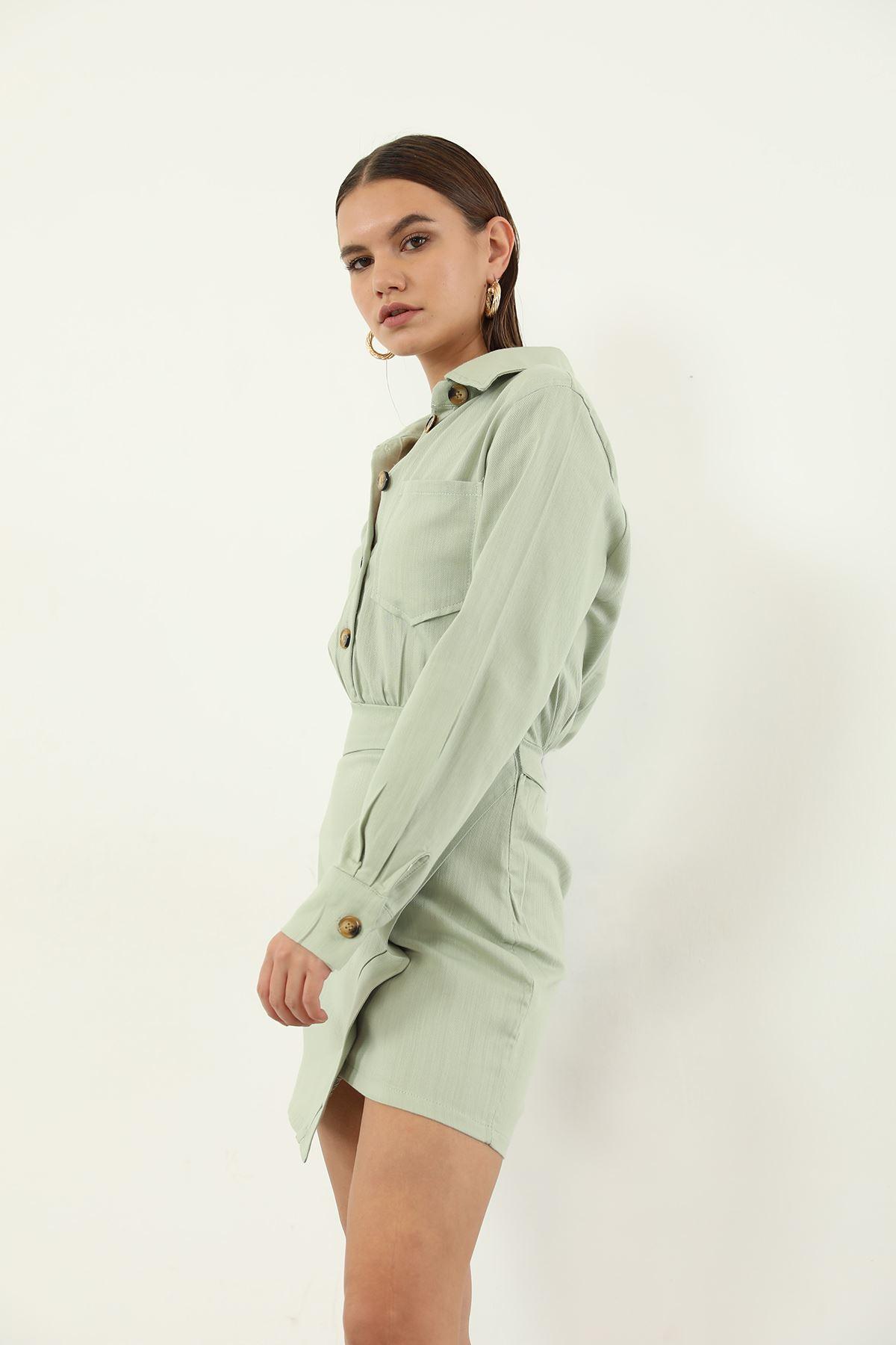 Keten Düğmeli Elbise-Mint