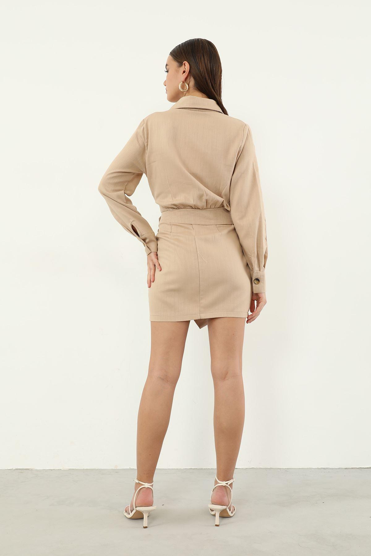 Keten Düğmeli Elbise-Bej