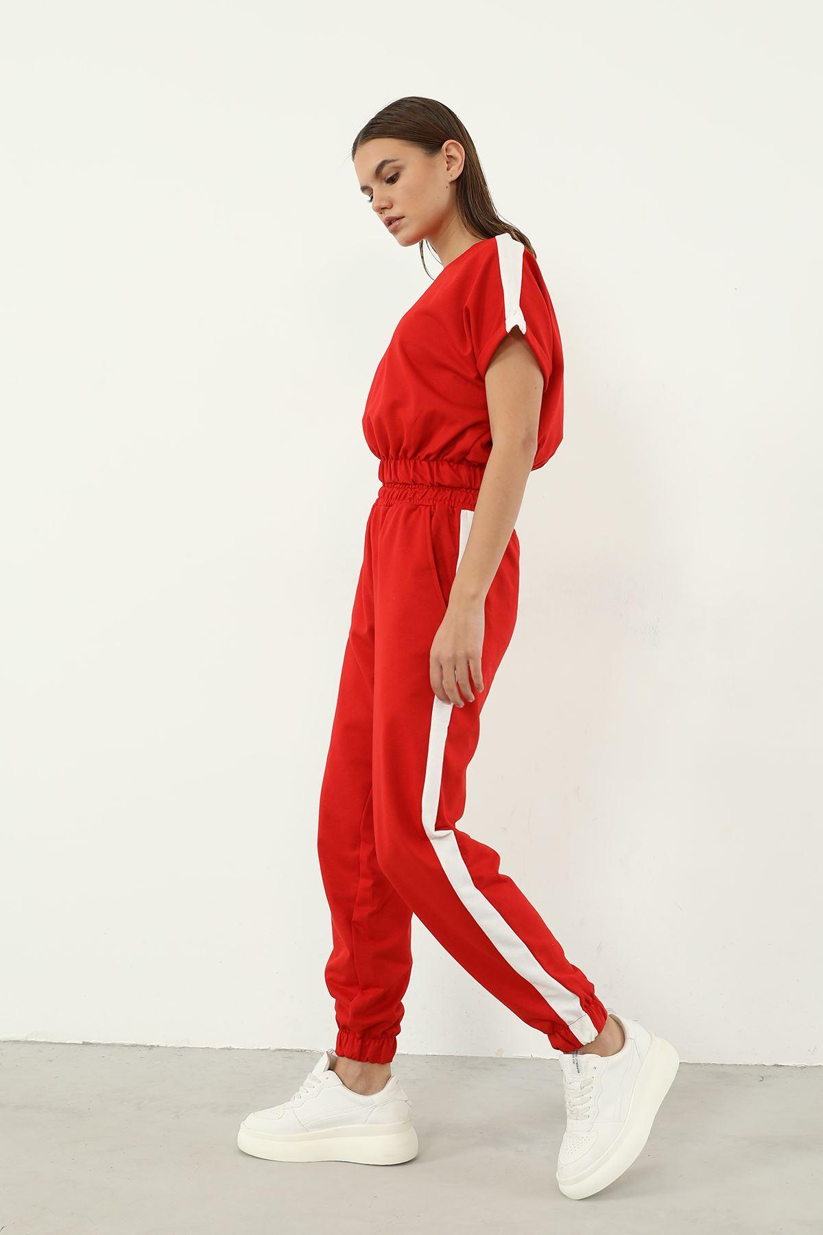 Şeritli Eşofman Takım-Kırmızı