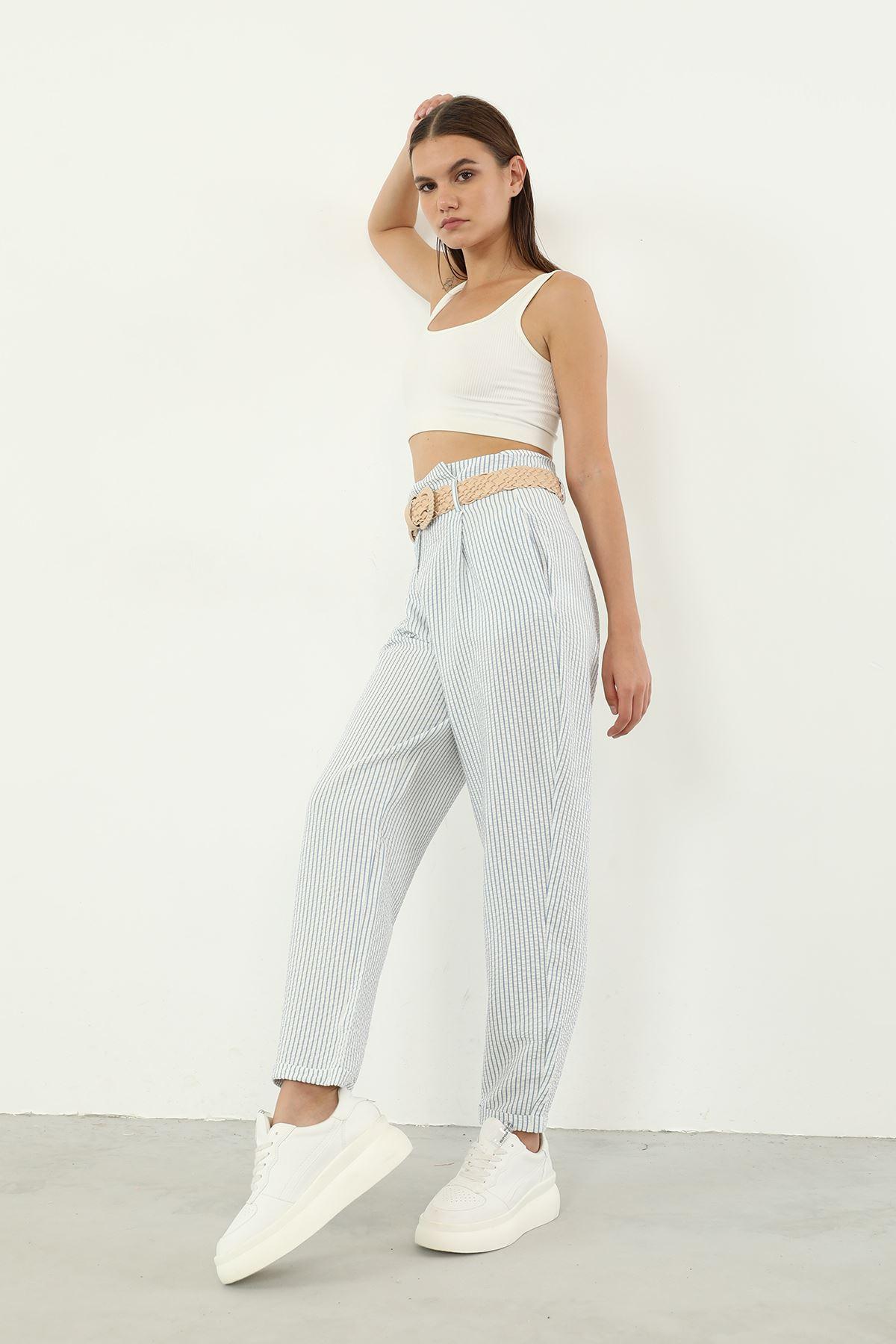 Çizgili Pantolon-Mavi