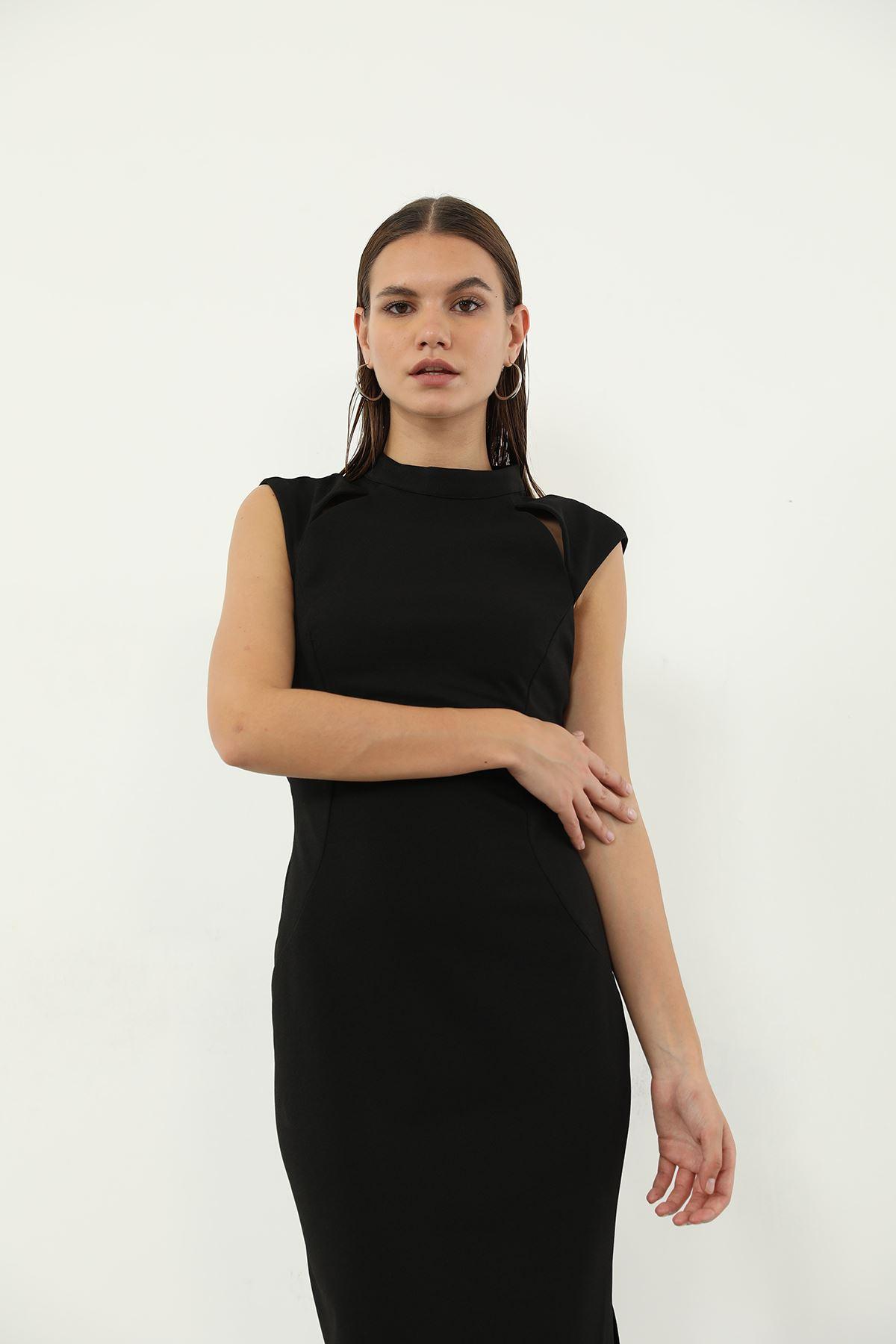 Yaka Detay Elbise-Siyah