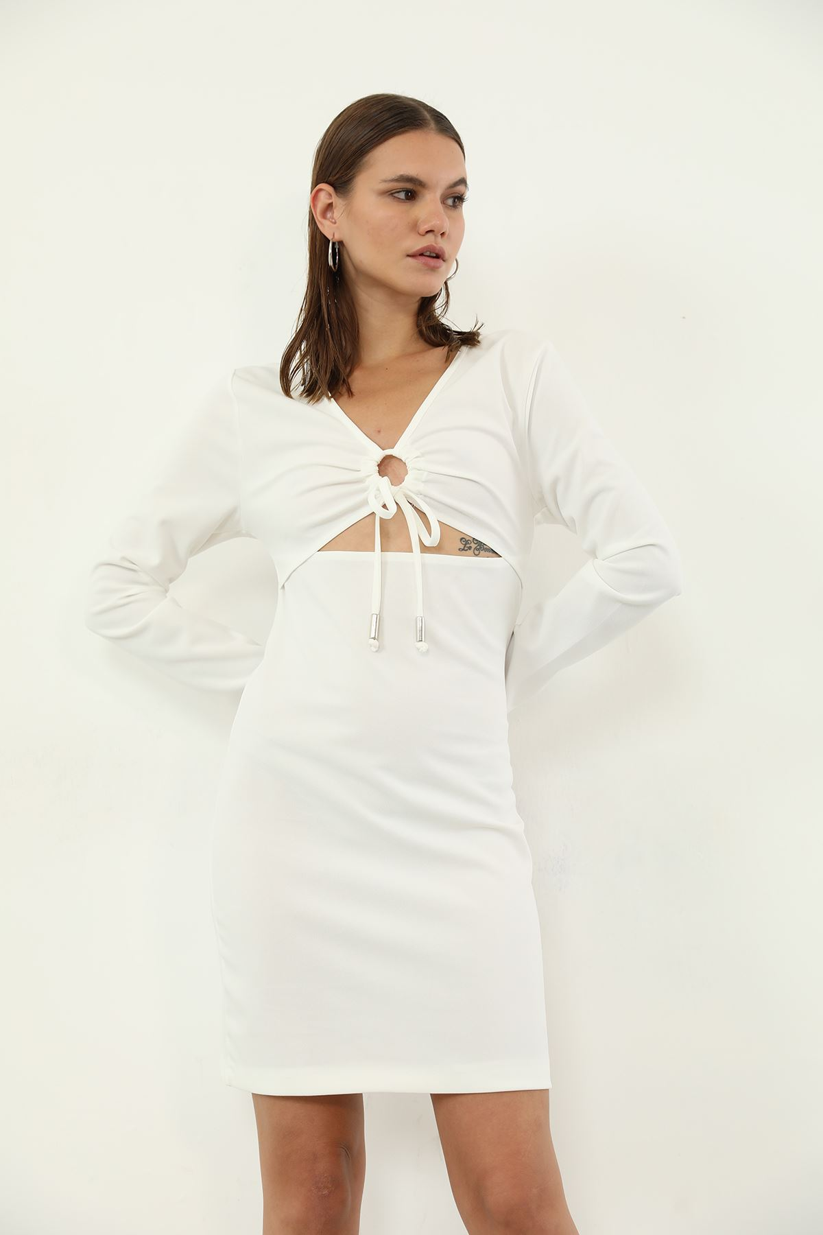 Ön Detay Elbise-Beyaz