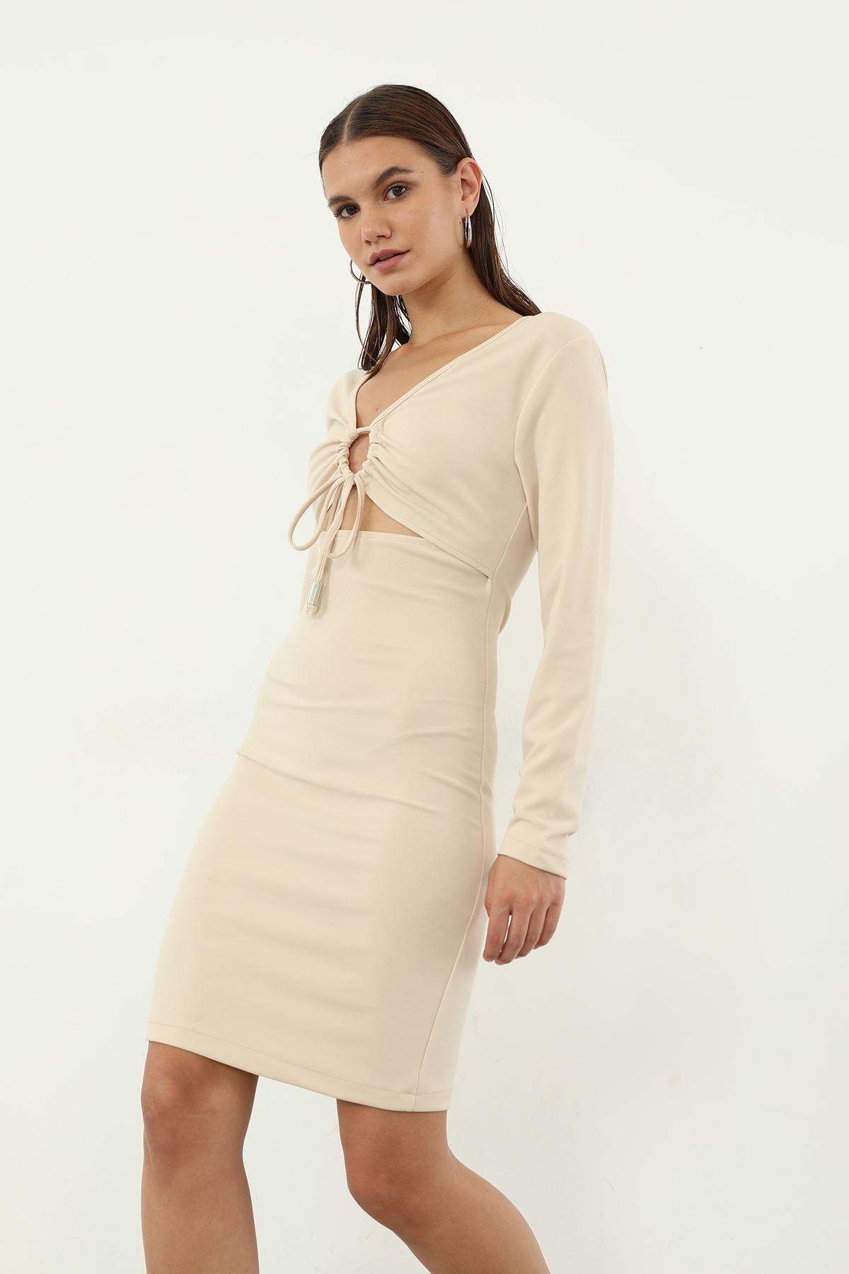 Ön Detay Elbise-Bej