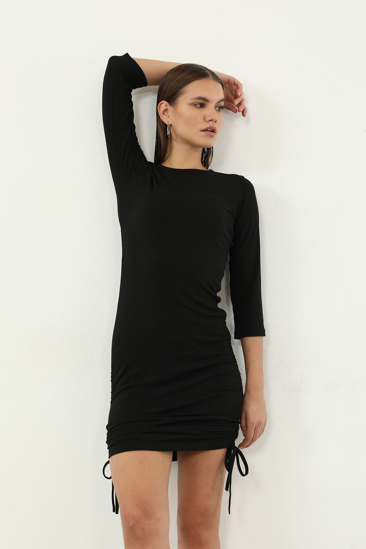 Büzgülü Kaşkorse Elbise-Siyah