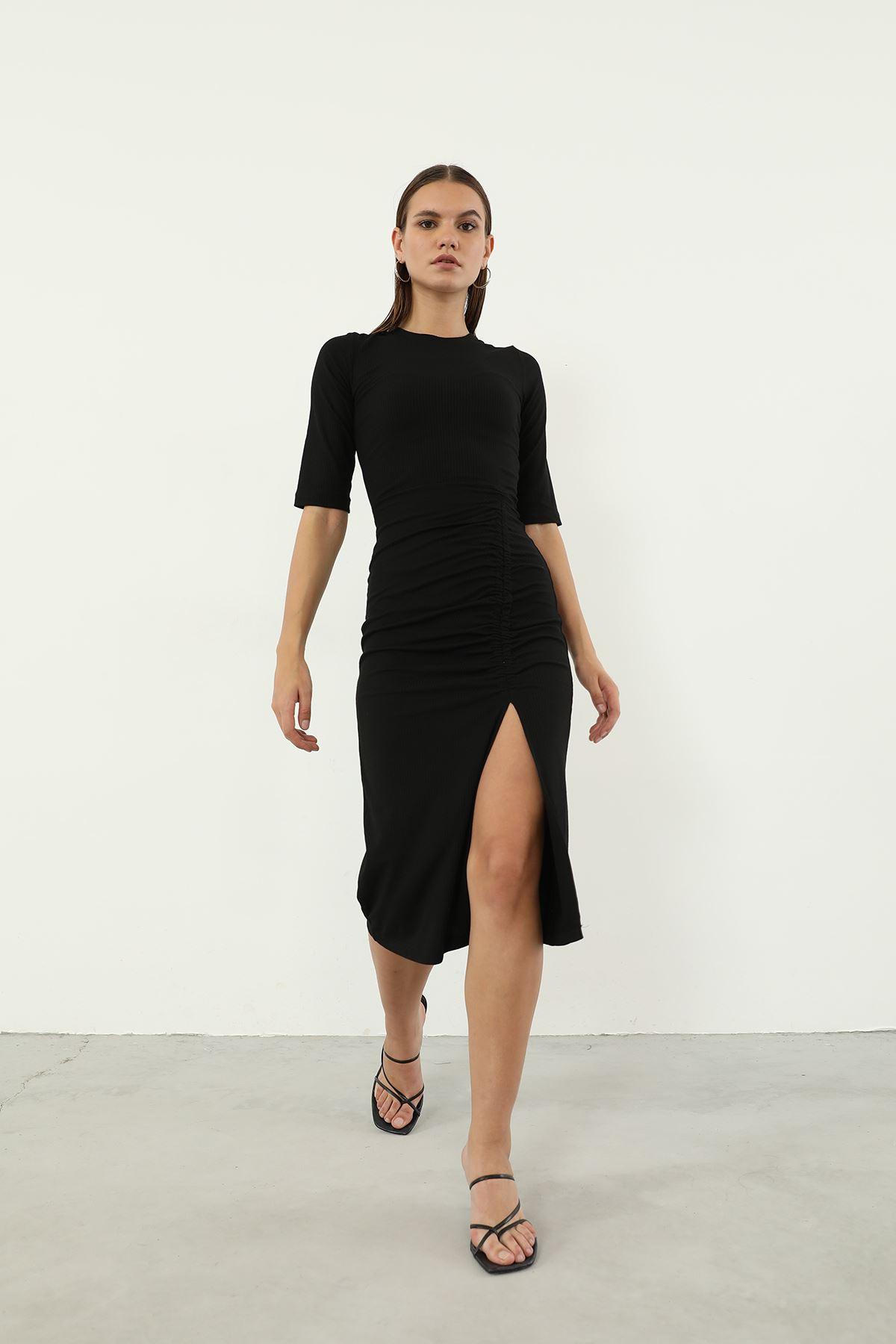Büzgü Detay Kaşkorse Elbise-Siyah