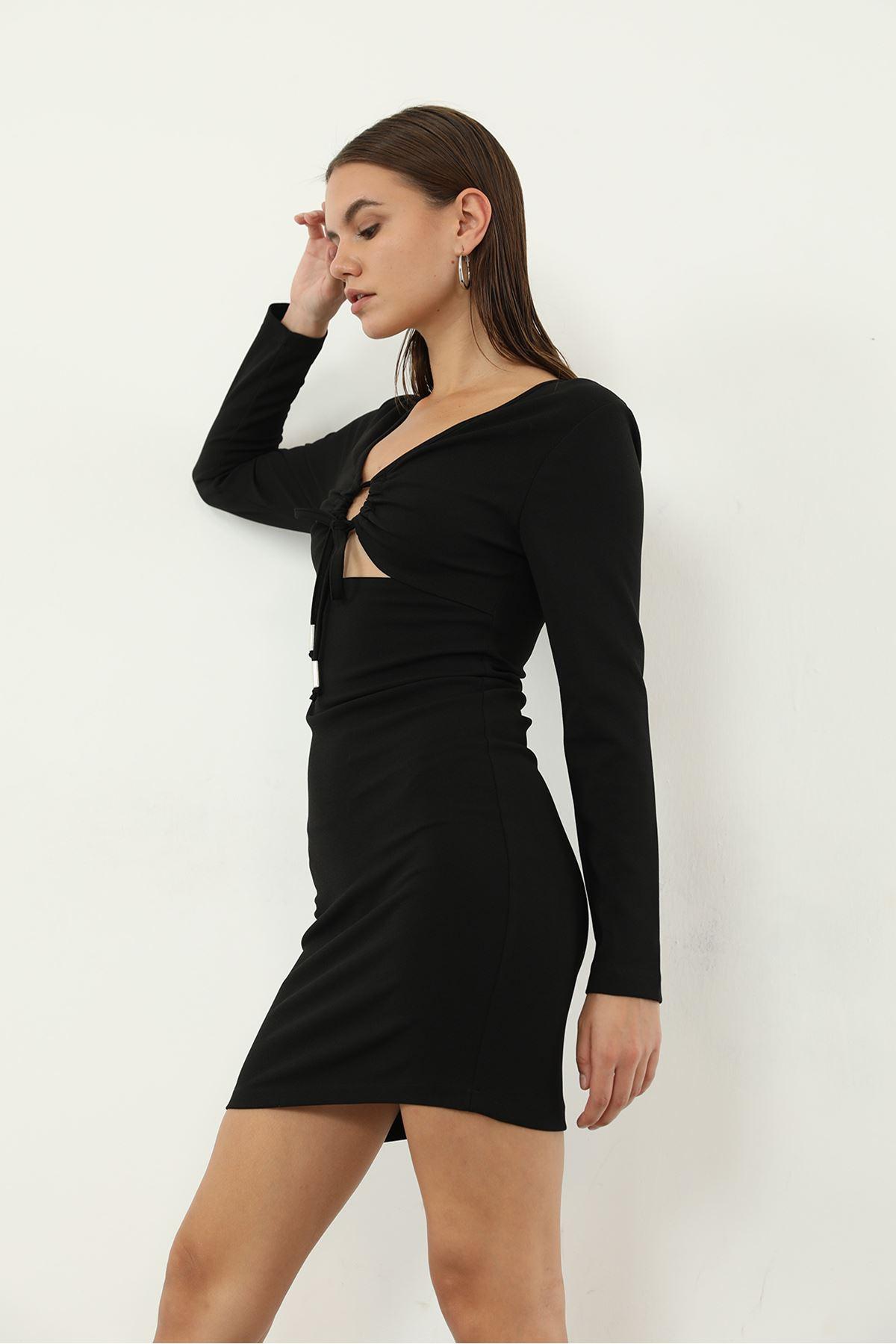 Ön Detay Elbise-Siyah