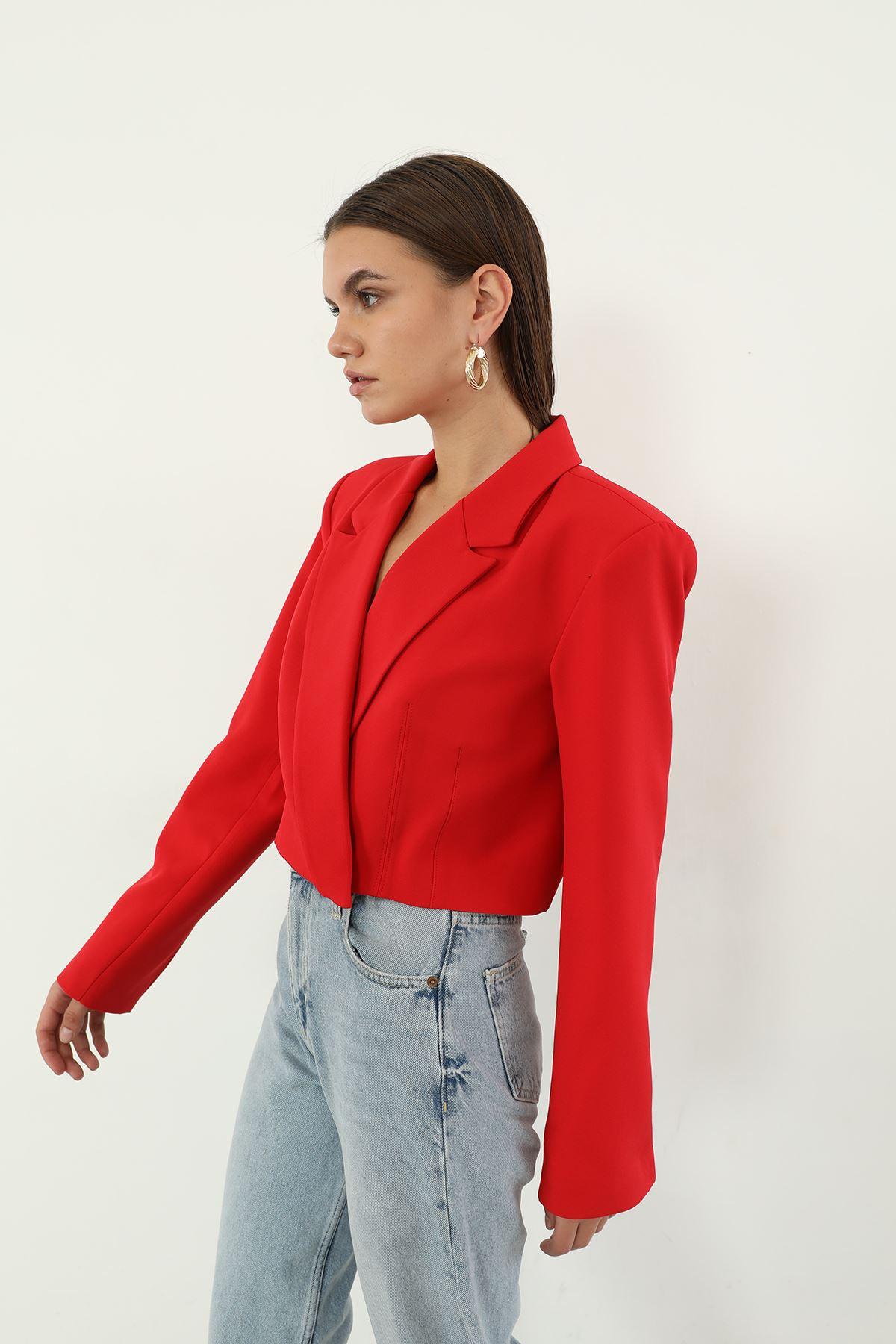 Kruvaze Crop Ceket-Kırmızı